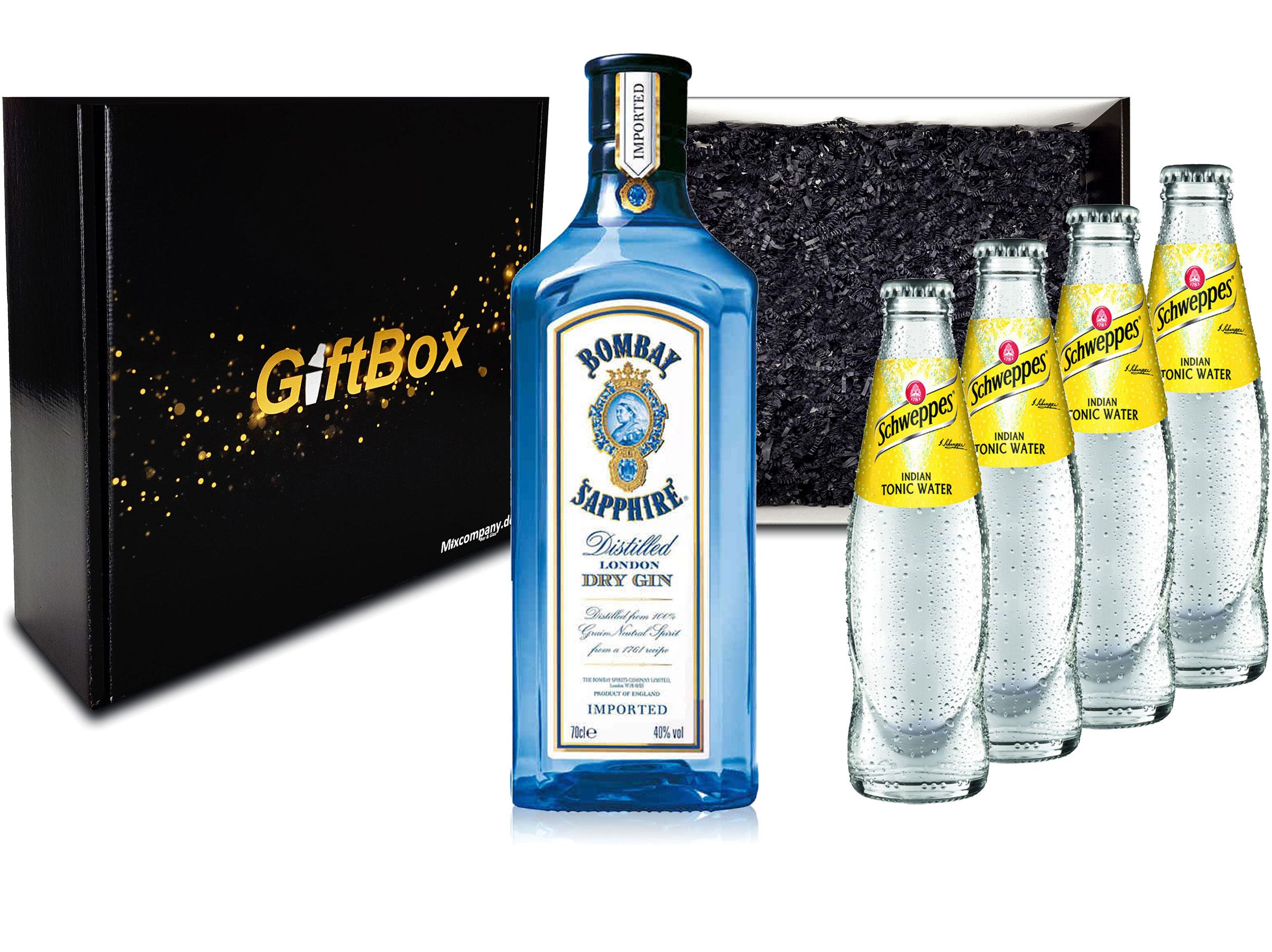 Gin Tonic Giftbox Geschenkset - Bombay Sapphire 0,7l 700ml (40% Vol) + 4x Schweppes Tonic Water 200ml inkl. Pfand MEHRWEG + Geschenkverpackung