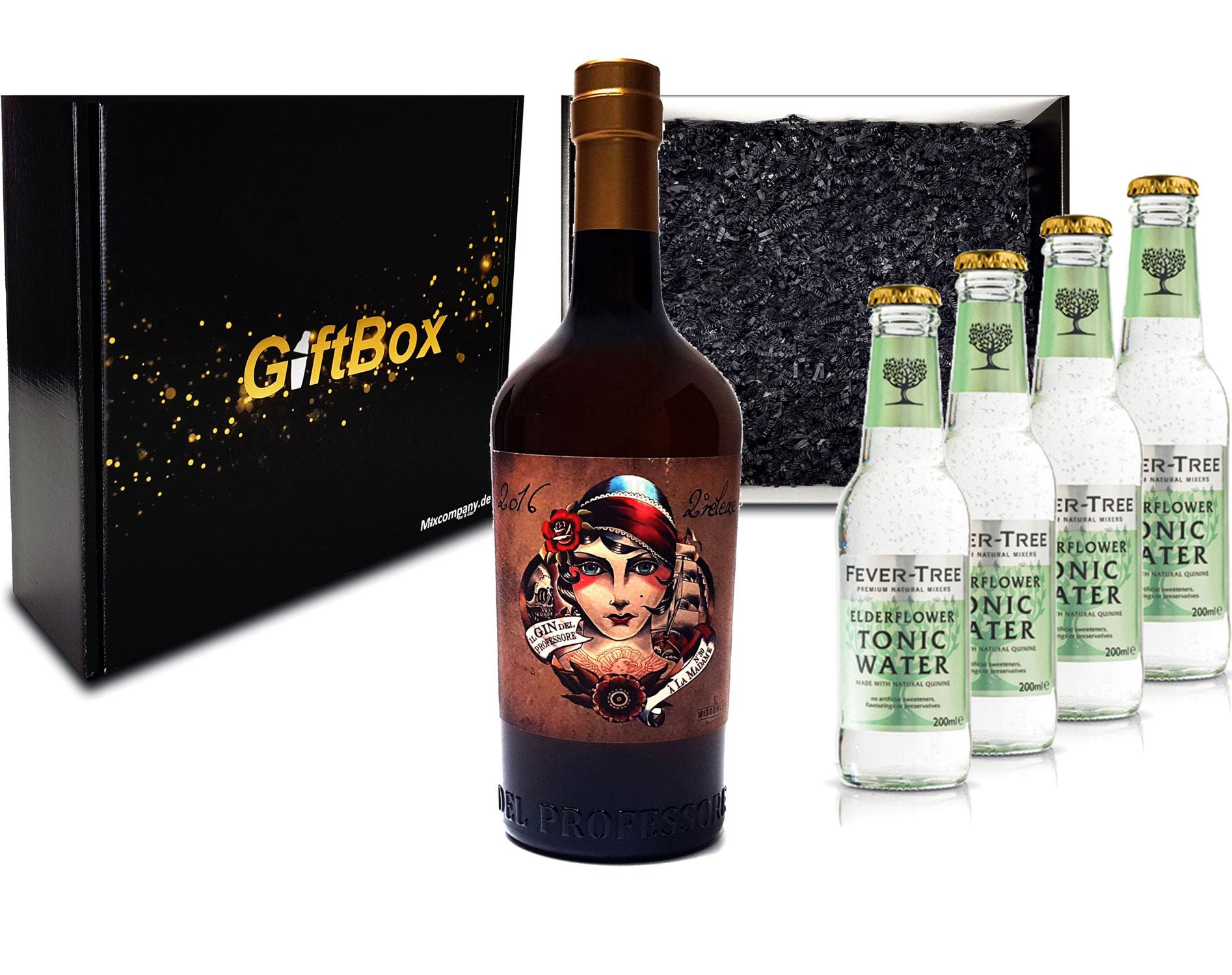 Gin Tonic Giftbox Geschenkset - Gin del Professore Madame 0,7l 700ml (42,9% Vol) + 4x Fever Tree Elderflower Water 200ml inkl. Pfand MEHRWEG - [Enthält Sulfite]
