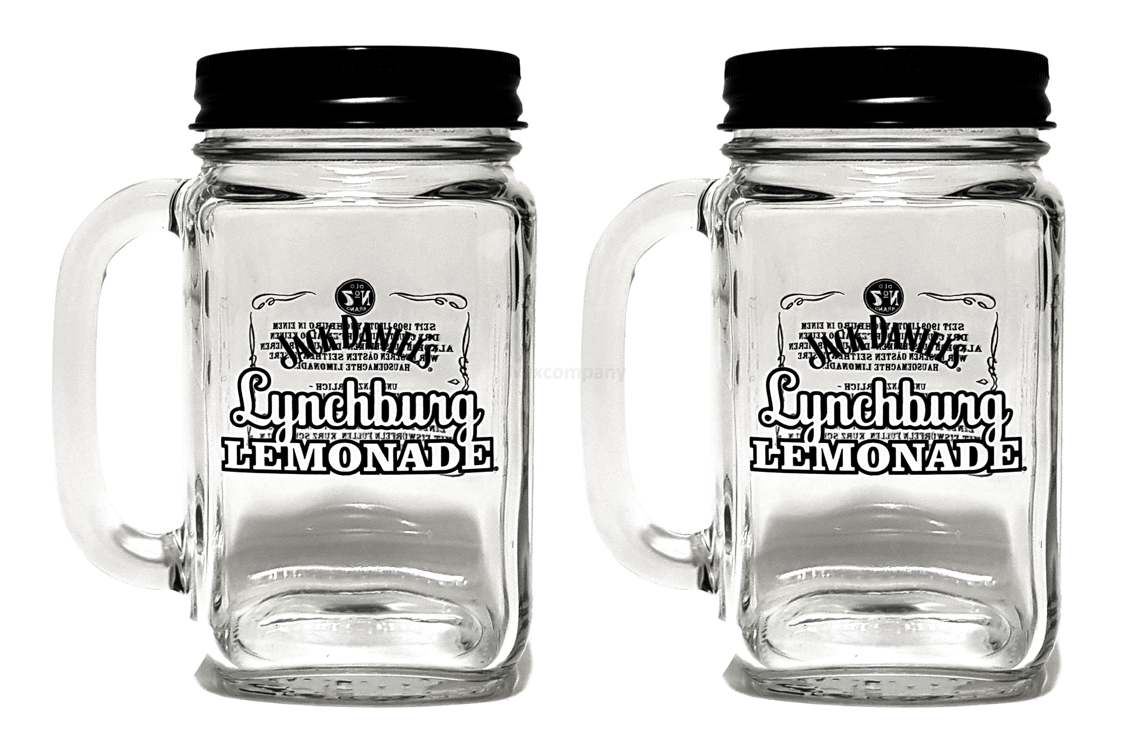 Jack Daniels Gläser Lynchburg Lemonaden Glas mit Deckel - 2er Set
