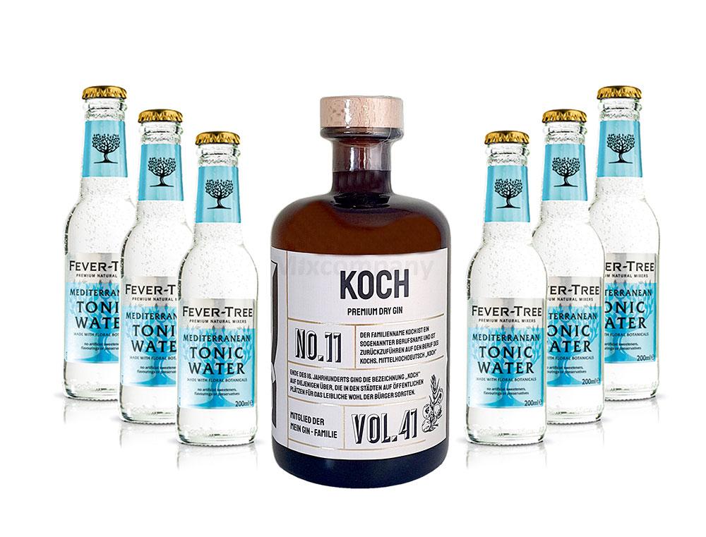 Mein Gin - Koch Premium Dry Gin 0,5l (41% Vol) - Koch s Gin No.11 + 6x Fever-Tree Mediterranean Tonic Water 200ml inkl. Pfand MEHRWEG -[Enthält Sulfite]