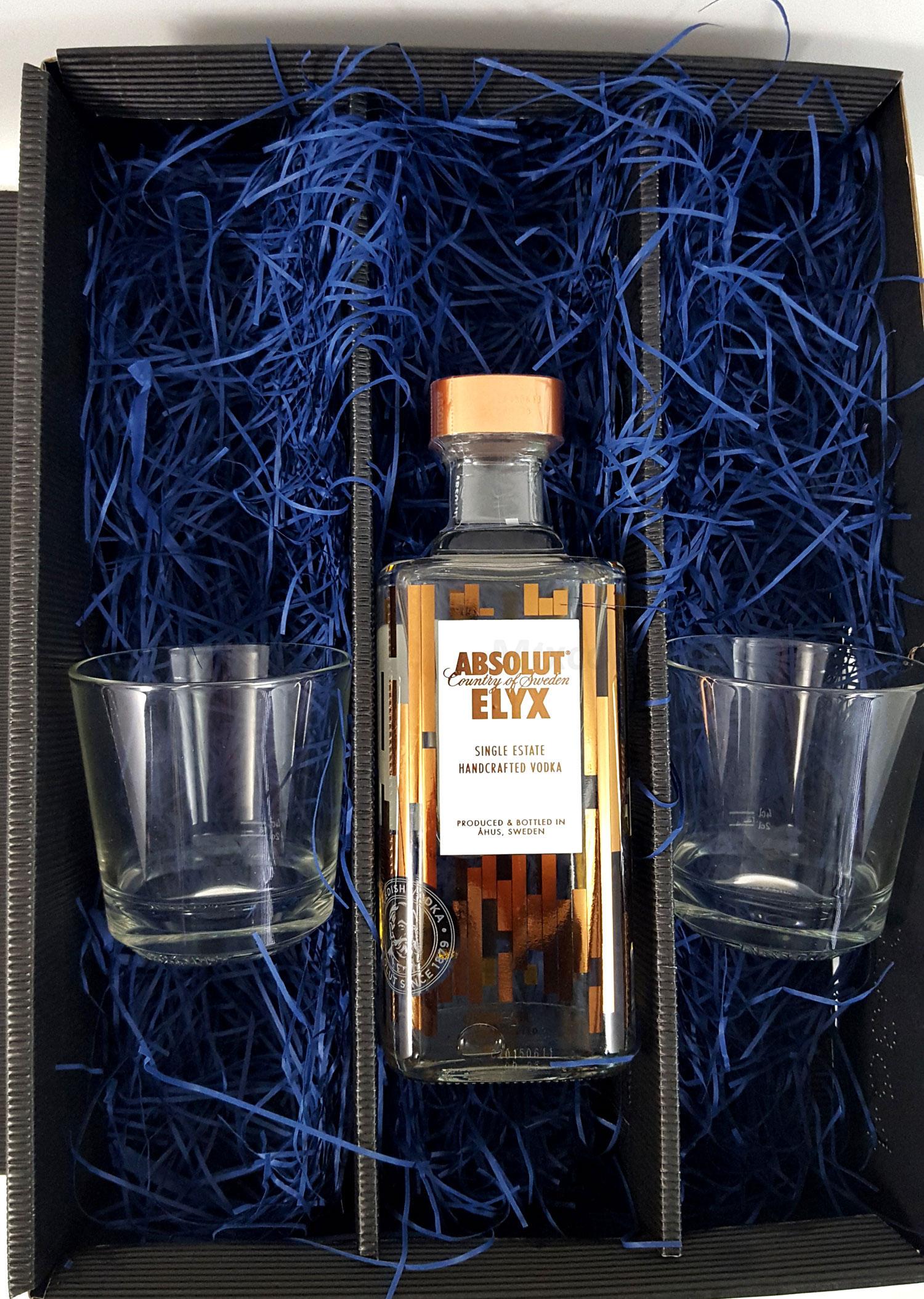 Absolut Set / Geschenkset - Absolut Elyx Vodka 1L (50% Vol) + 2x Absolut Gläser geeicht 2/4cl