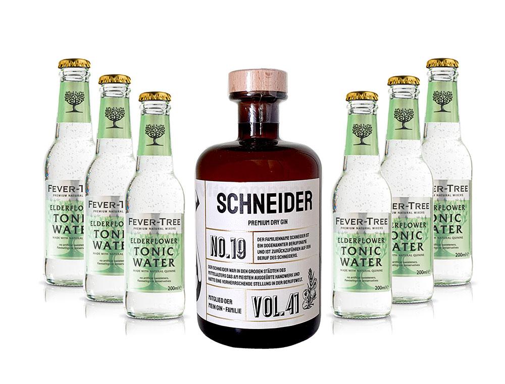 Mein Gin - Schneider Premium Dry Gin 0,5l (41% Vol) - Schneider s Gin No.19 + 6x Fever-Tree Elderflower Tonic Water 200ml inkl. Pfand MEHRWEG -[Enthält Sulfite]