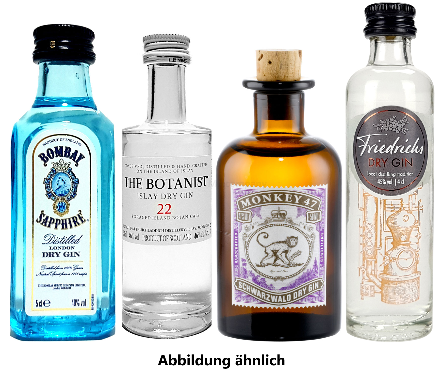 Gin mini 4er Set - Bombay Sapphire London Dry Gin 50ml (40% Vol) + Monkey 47 Schwarzwald Dry Gin 50ml (47% Vol) + The Botanist Islay Dry Gin 50ml (46% Vol) + Friedrichs Dry Gin 4cl (45% Vol)