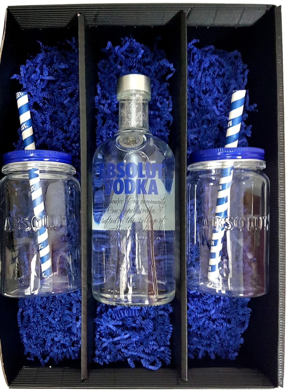 Absolut Geschenkset - Absolut Vodka 0,7l 700ml (40% Vol) + 2x Lynchburg Gläser + 2x Strohhalme