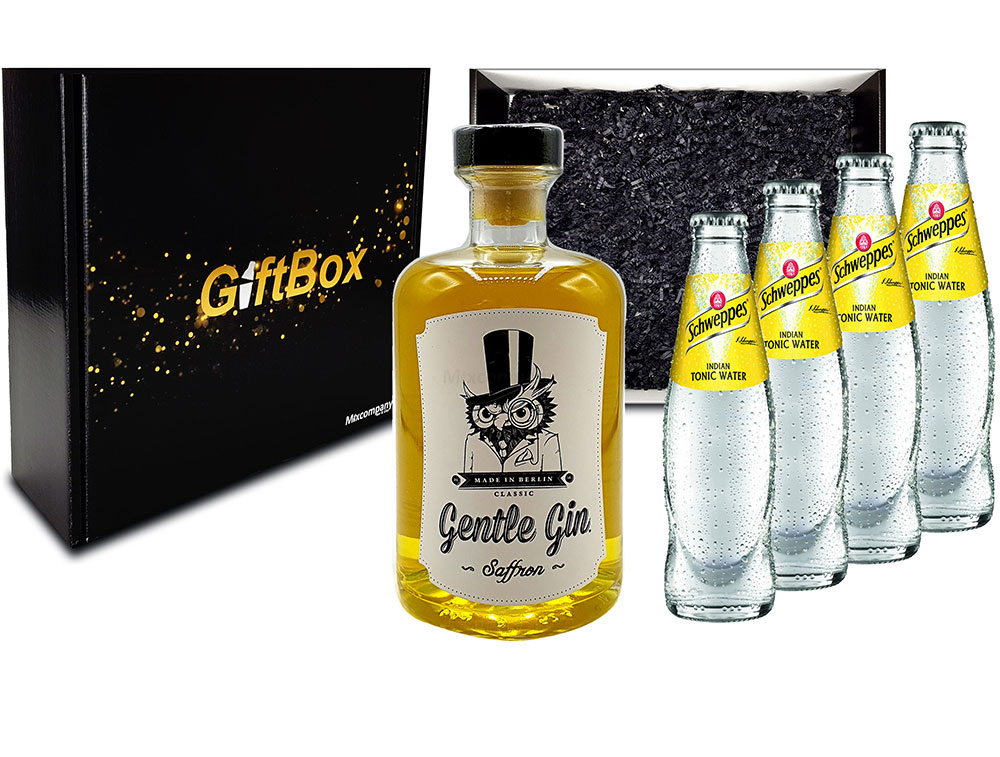 Mixcompany Giftbox - Gin Tonic Set Gin Tonic Set - Gentle Gin Saffron 0,5l (40% Vol) + 4x Schweppes Tonic Water 200ml inkl. Pfand MEHRWEG - in Geschenkverpackung- [Enthält Sulfite]