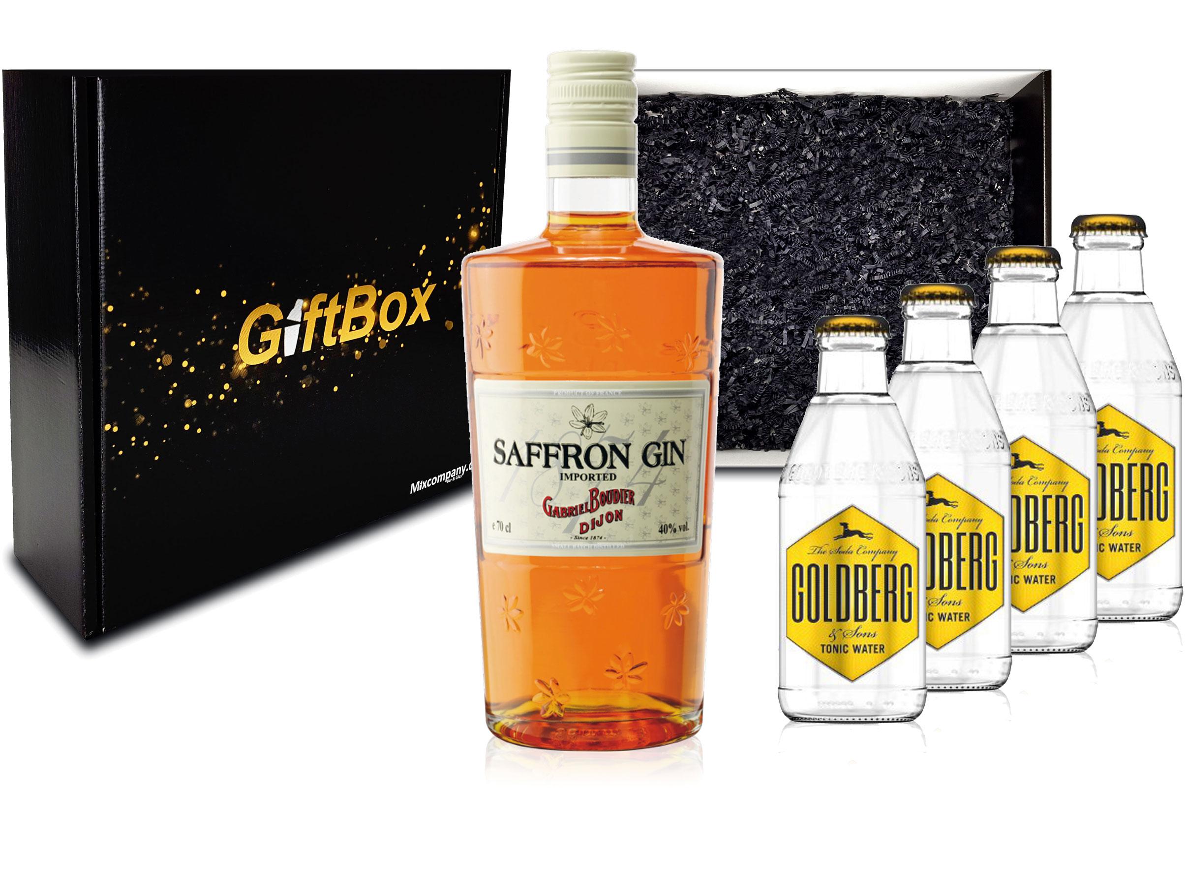 Gin Tonic Giftbox Geschenkset - Saffron Gin 0,7l 700ml (40% Vol) + 4x Goldberg Tonic Water 200ml inkl. Pfand MEHRWEG + Geschenkverpackung