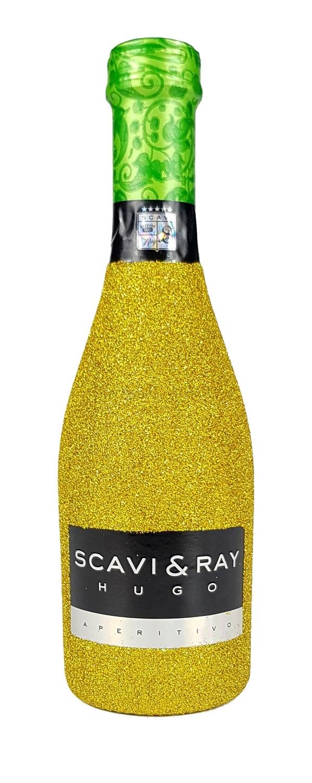 Scavi & Ray Hugo Aperitivo 20cl (6% Vol) - Bling Bling Glitzerflasche in gold -[Enthält Sulfite]