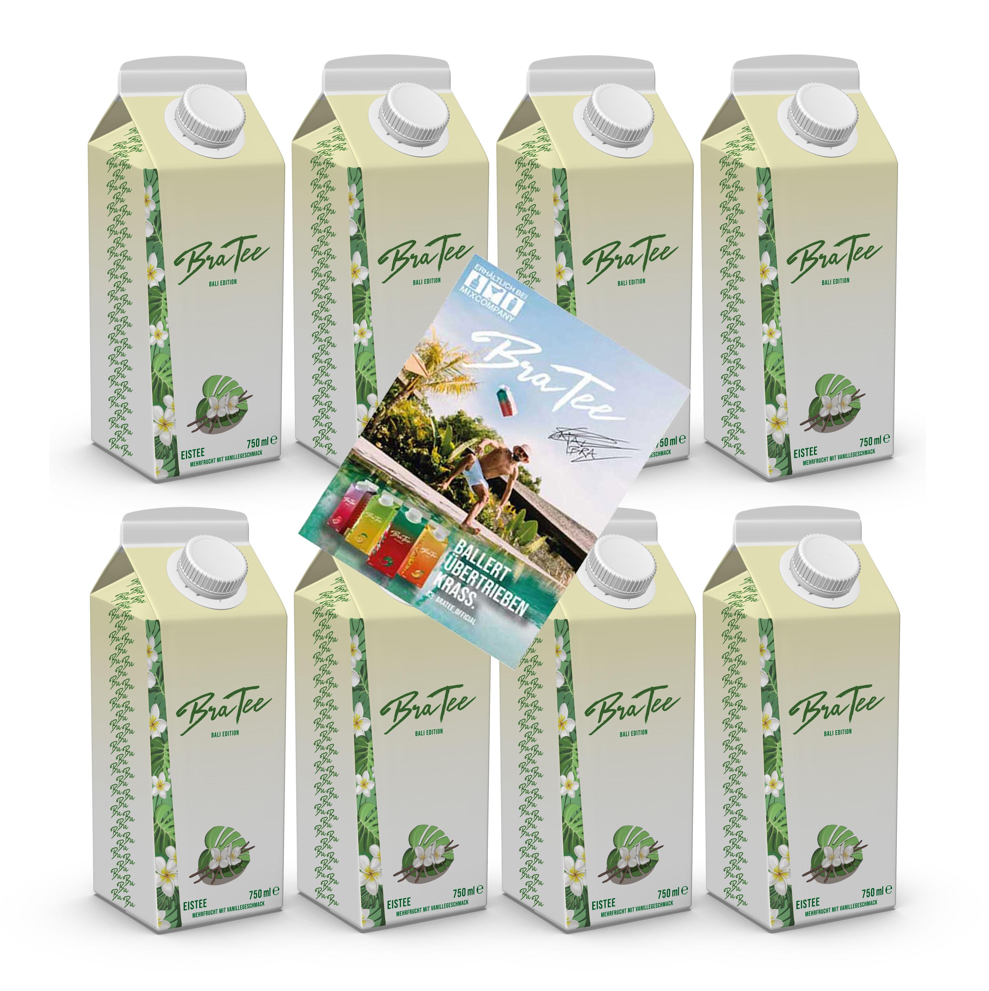 Capital BraTee Bali Edition 8er Set Special Eistee je 750ml + Autogrammkarte BRATEE Limited Edition Ice tea Mehrfrucht mit Vanillegeschmack mit Capi-Qualitäts-Siegel - Du weisst Bescheid