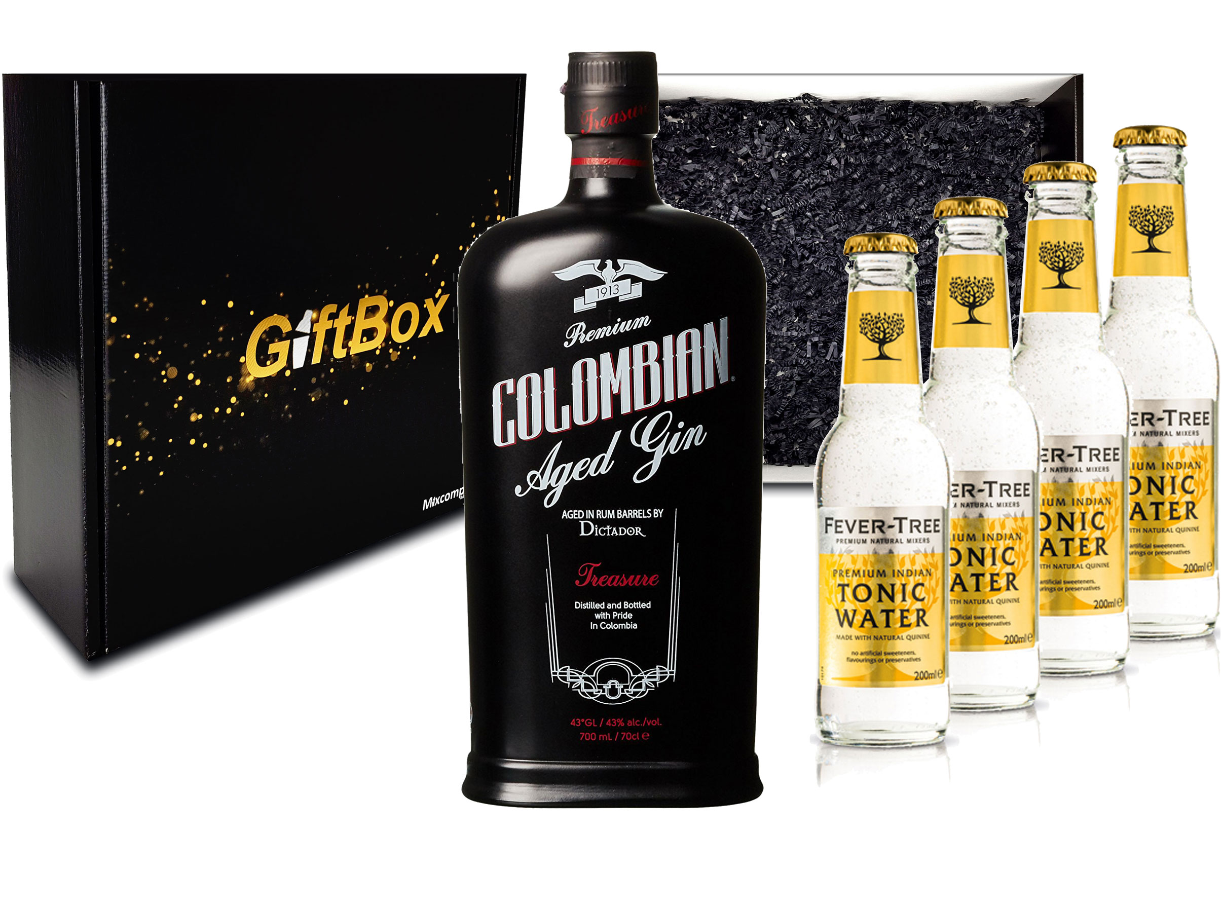 Gin Tonic Giftbox Geschenkset - Dictador Colombian Aged Gin Black 0,7l 700ml (43% Vol) + 4x Fever Tree Tonic Water 200ml inkl. Pfand MEHRWEG -[Enthält Sulfite]