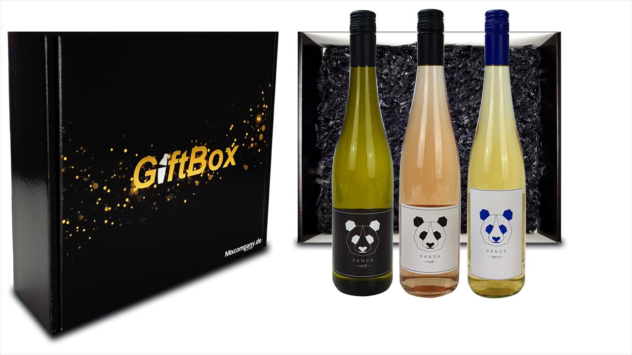 Panda Giftbox Geschenkset - Panda Rosewein Spätburgunder Wein (11,5% Vol) 0,75L + Weißwein Weißburgunder Wein (12% Vol) 0,75L + Secco Sekt Wein (11,5% Vol) 0,75L- [Enthält Sulfite]
