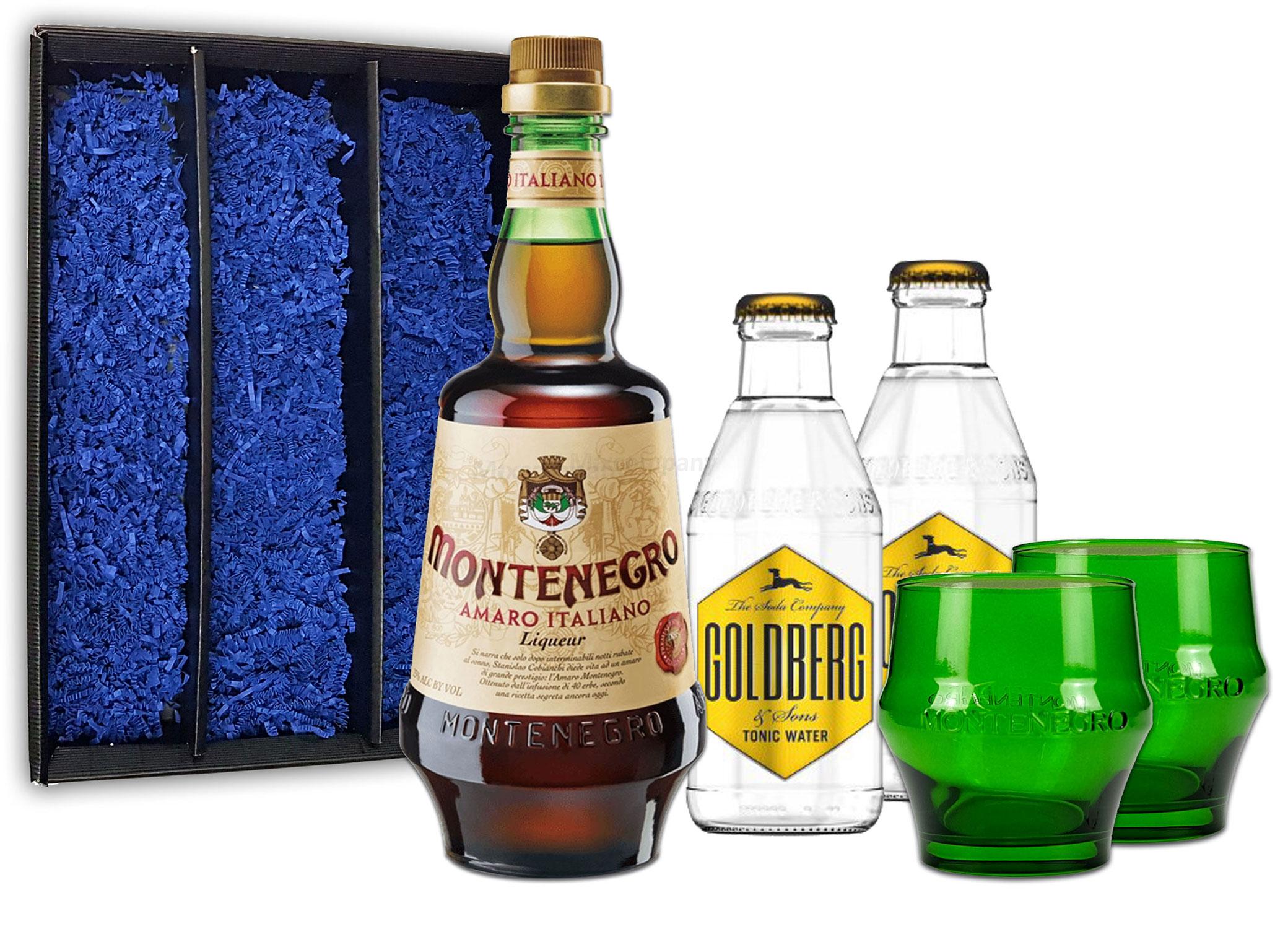 Montenegro & Tonic Geschenkset - Montenegro Amaro Italiano Likör 0,7L (23% Vol) + 2x Goldberg Tonic Water 200ml inkl. Pfand MEHRWEG + 2x Gläser Shot Glas grün