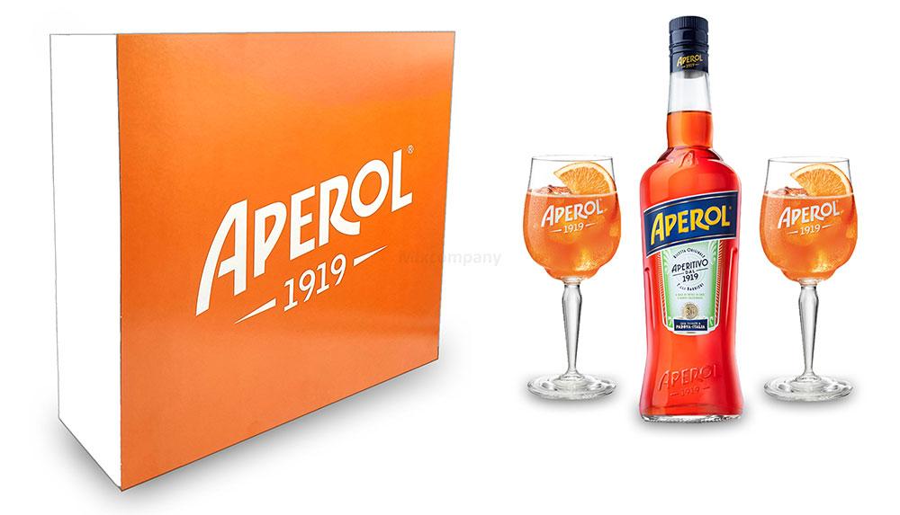 Aperol Schuber Geschenkset - Aperol Aperitivo Italiano 0,7L (11% Vol) + 2x Aperol Gläser / Glas- [Enthält Sulfite]