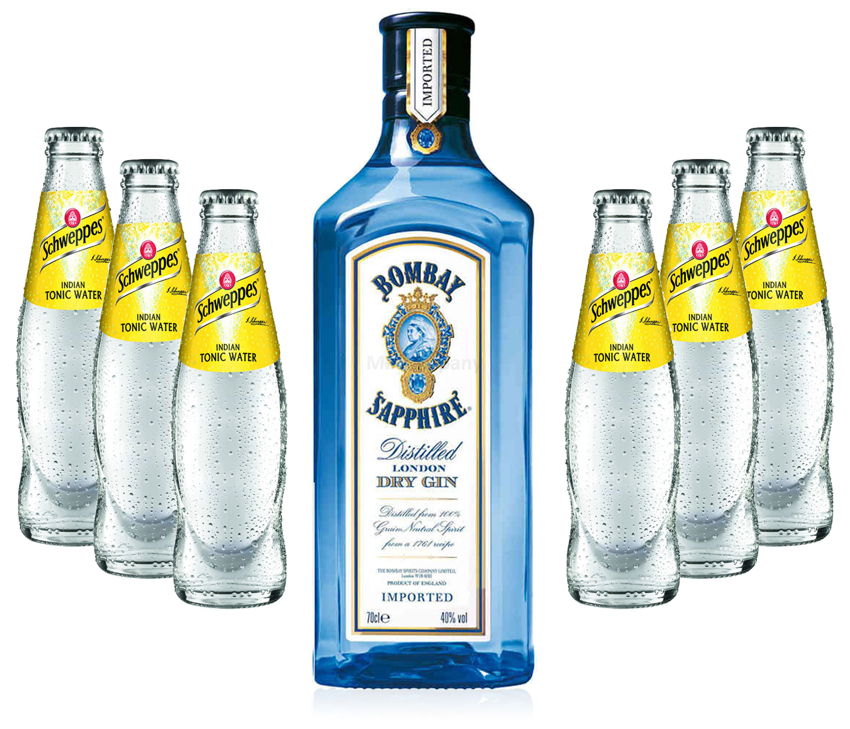 Gin Tonic Set - Bombay Sapphire 0,7l 700ml (40% Vol) + 6x Schweppes Tonic Water 200ml - Inkl. Pfand MEHRWEG