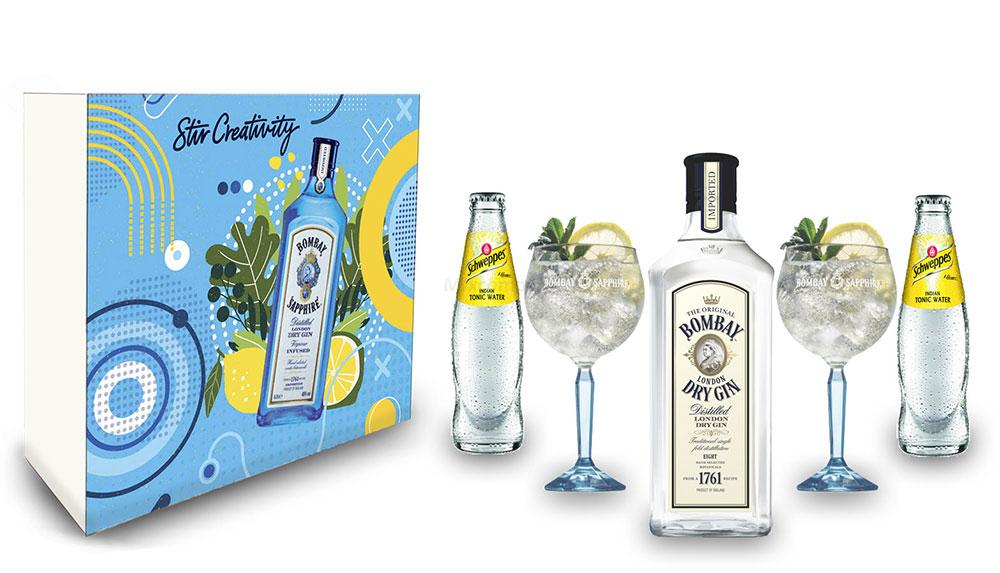 Bombay Tonic Geschenkset - Bombay London Dry Gin 0,7L (37,5% Vol) + 2er Set Ballon Glas + 2x Schweppes Tonic Water 200ml inkl. Pfand MEHRWEG - [Enthält Sulfite]