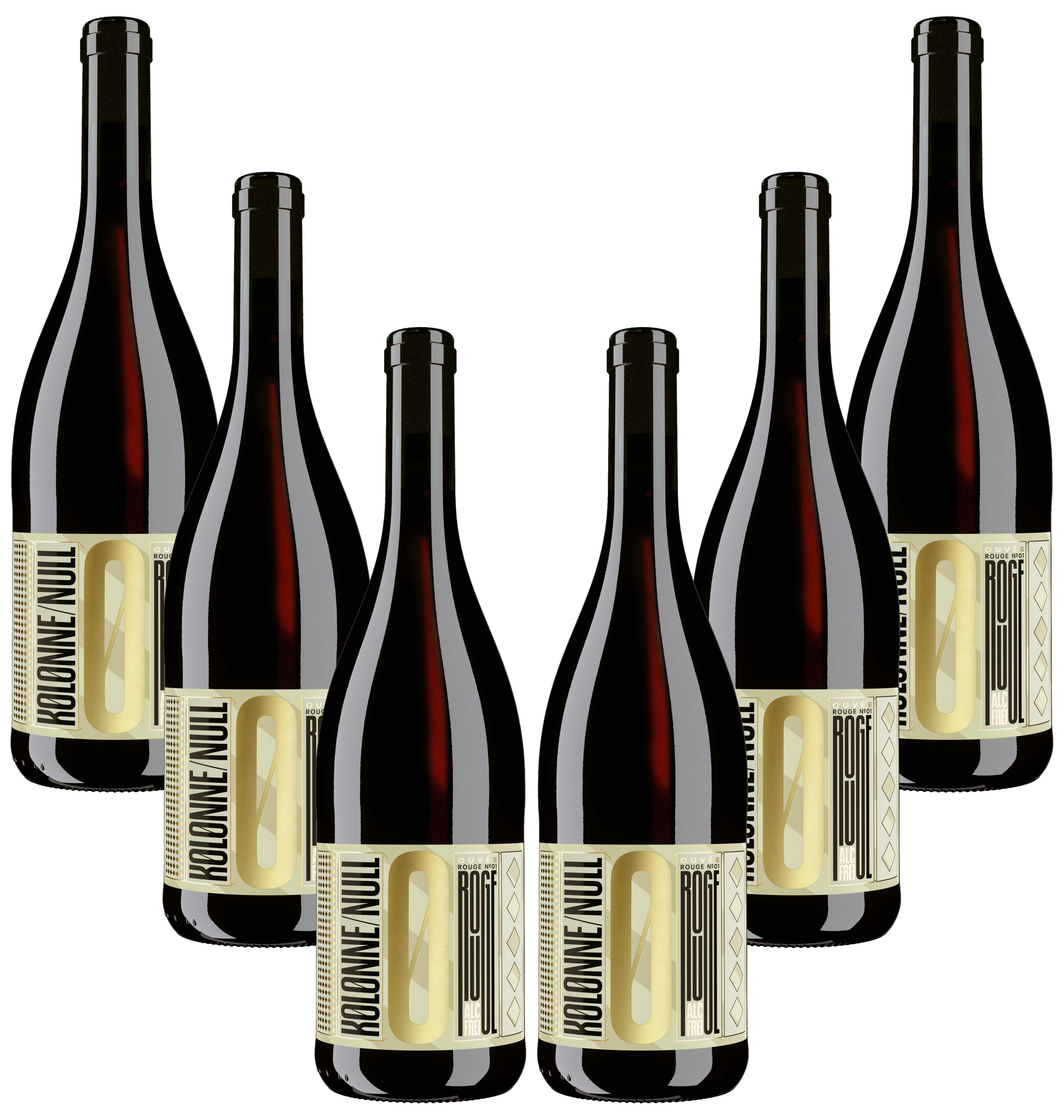 Kolonne Null Rouge 6er Set Alkoholfreier Rouge Cuvee N°2 Rotwein mit Korken 6x0,75L