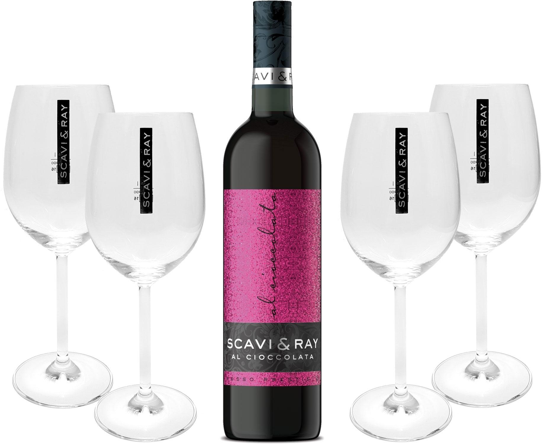 Scavi & Ray Al Cioccolata Rotwein Cuvèe 0,75l (10% Vol) + 4x Ballon Gläser (20cl) -[Enthält Sulfite]