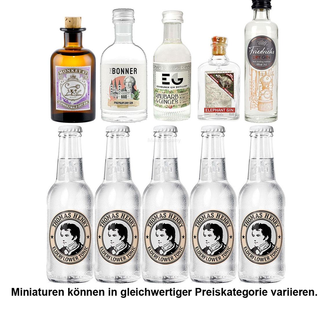 Gin Tonic Probierset - 5x Verschiedene Gin Sorten je 50ml + 5x Thomas Henry Elderflower 200ml inkl. Pfand MEHRWEG - NEU