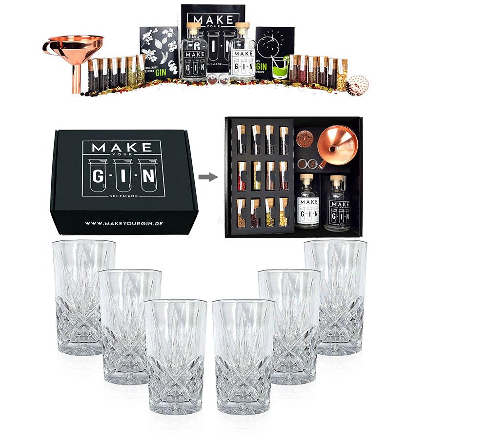Longdrinkglas in Kristall Optik - 6er Set Gläser + Make Your Gin Geschenkset schwarz Geschenkbox Gin zum Selbermachen - 11 Botanicals + Bar Trichter + Anleitung mit Rezept