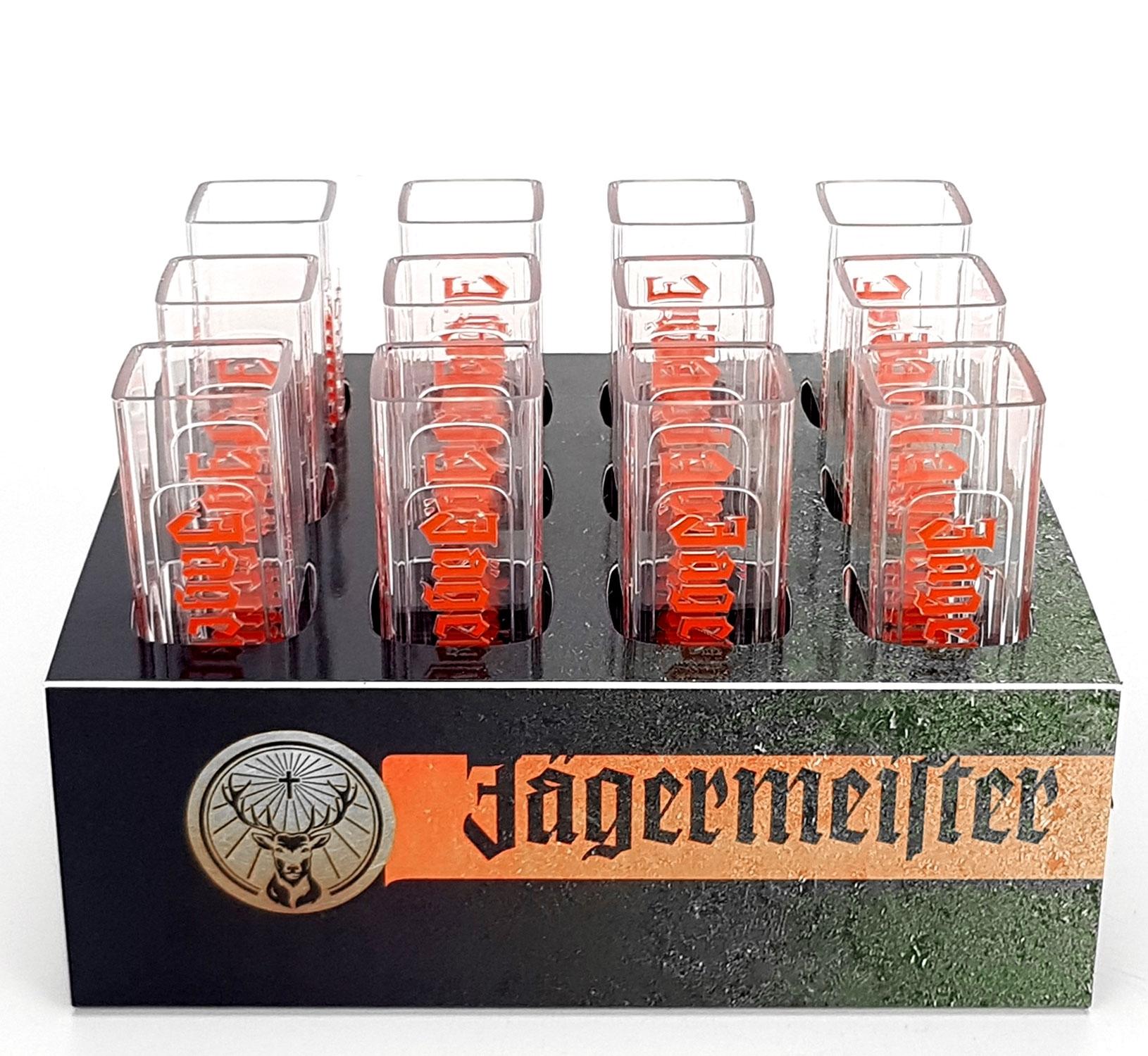 Jägermeister Becher Shotglas Schnapsglas Reagenzgläser aus Kunststoff 12er Set mit Halter