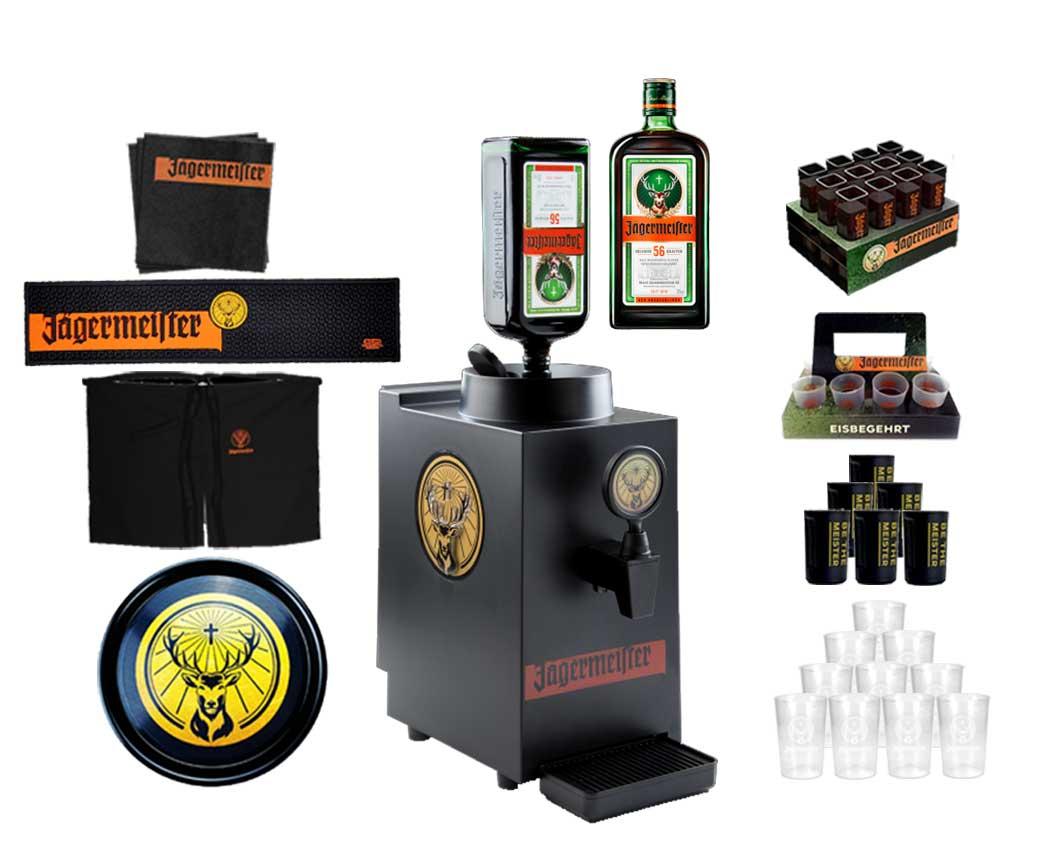 Jägermeister XXL Set 1 Bottle Tap Machine TAP Maschine mit Jägermeister 1L (35% Vol) - Zapfanlage LED beleuchtet + Becher / Shotgläser / Tablett und co.- [Enthält Sulfite]