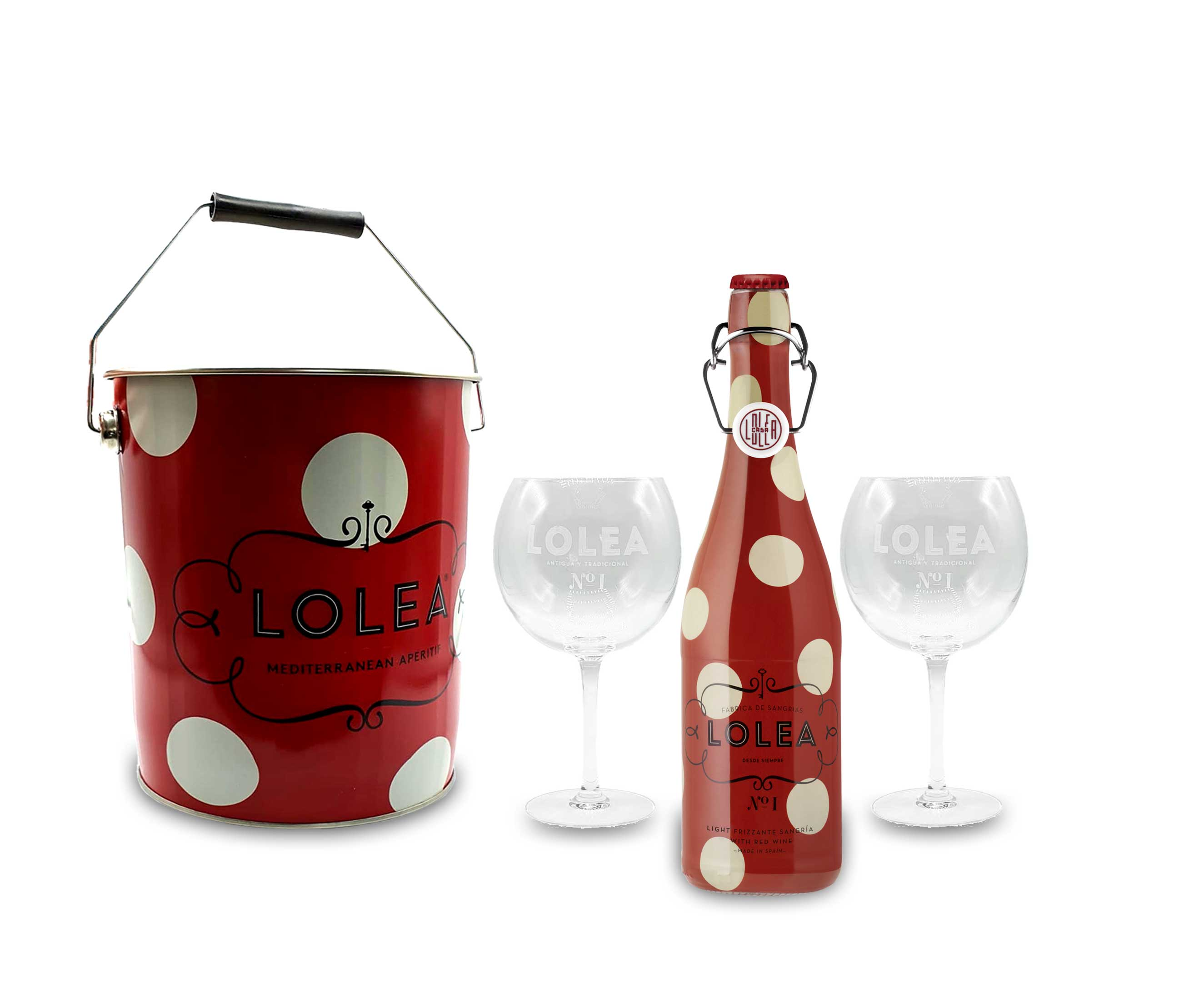 Lolea Set - Kühler mit Henkel + 2 Ballongläser + Lolea Sangria N°1 ROT 0,75L (7% Vol) Rotwein Sangria Cabernet Sauvignon, Tempranillo Trauben- [Enthält Sulfite]