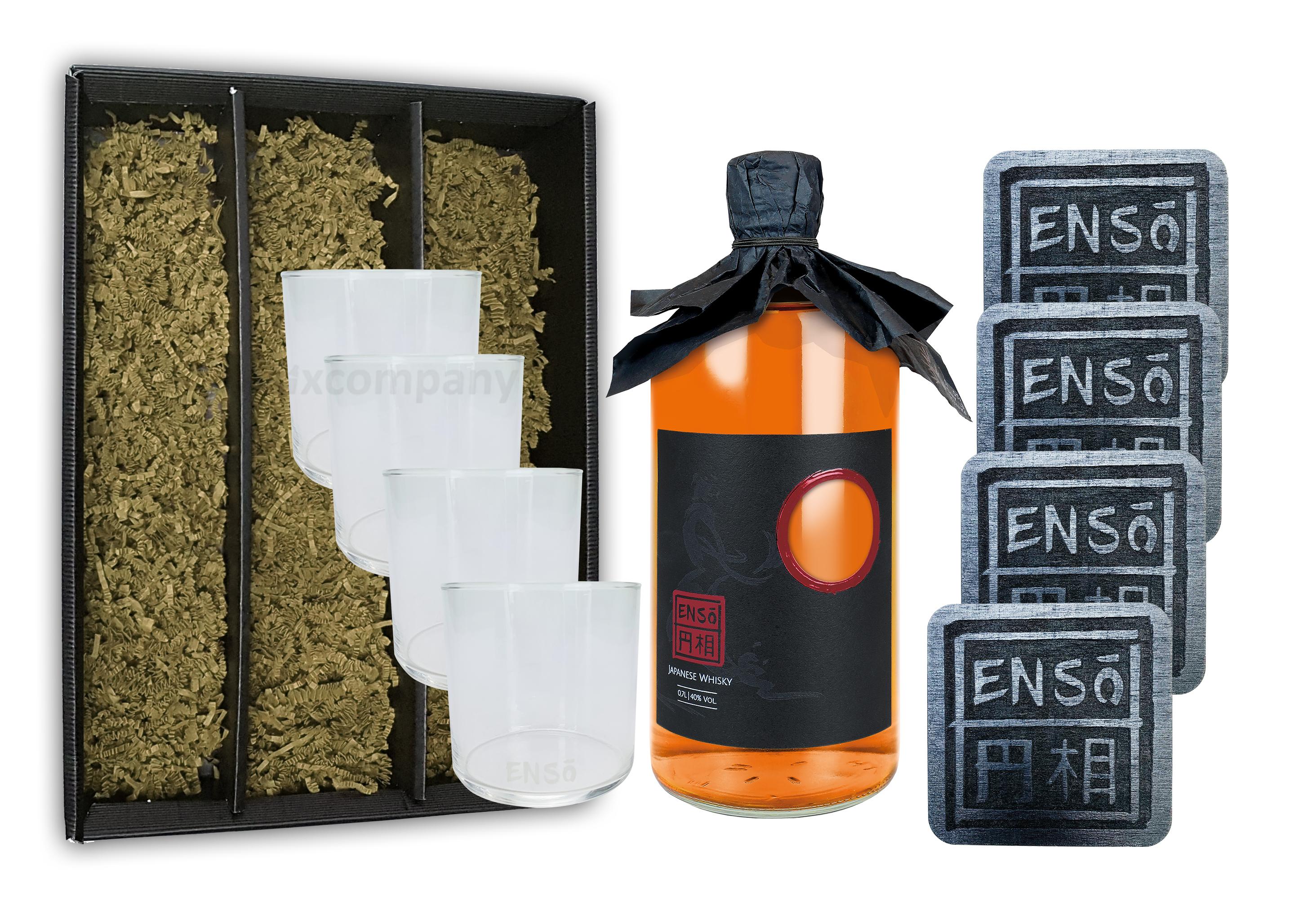 Enso Pot Still Blend Whisky 0,7l (40% Vol) + 4 Tumbler + 4 Untersetzer mit Geschenkverpackung japanischer Whiskey Glas Gläser Longdrinkglas Untersetzer - [Enthält Sulfite]
