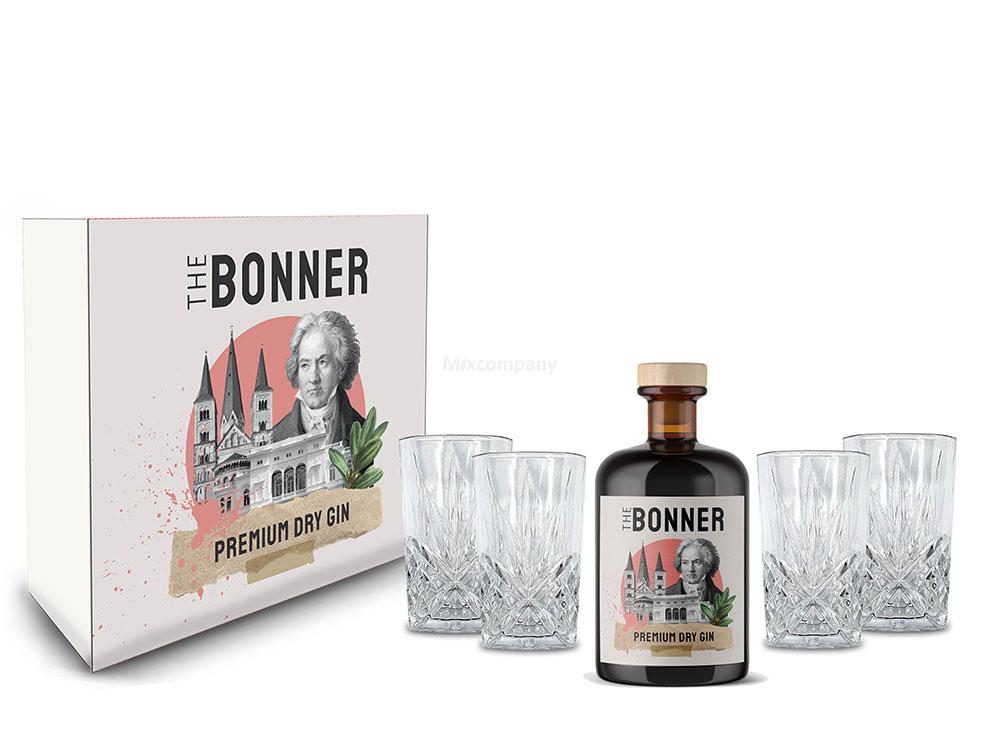 The Bonner Geschenkset - The Bonner Premium Dry Gin 0,5l (41% Vol) + 4x Longdrink Glas in Kristall Optik - [Enthält Sulfite]