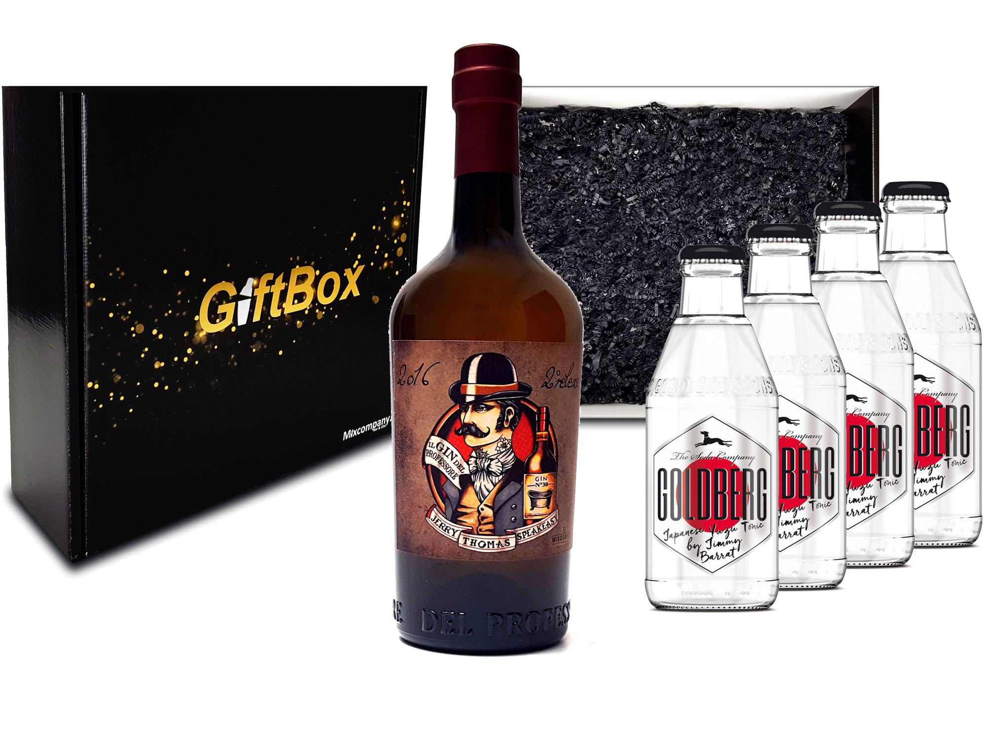 Gin Tonic Giftbox Geschenkset - Gin del Professore Monsieur 0,7l 700ml (43,7% Vol) + 4x Goldberg Japanese Yuzu Tonic Water 200ml inkl. Pfand MEHRWEG - [Enthält Sulfite]