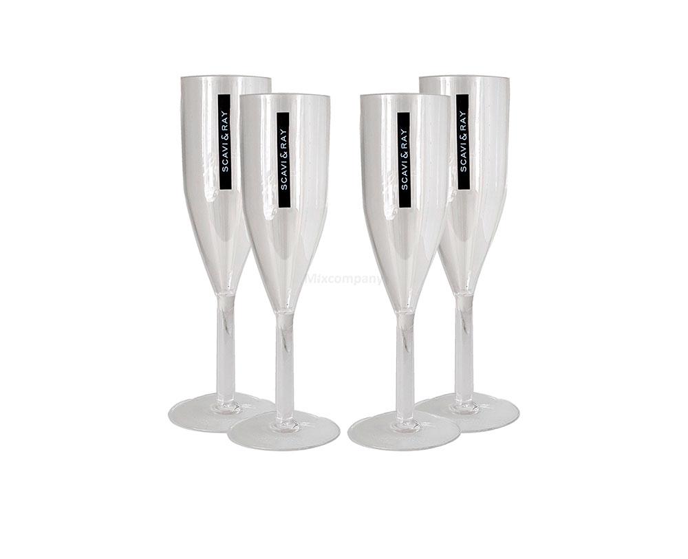 Scavi & Ray Sekt Acryl Glas / Prosecco Gläser Set - 4x Flöten Gläser aus Kunststoff