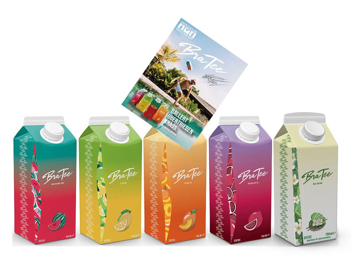 Capital BraTee 5er Tasting Set Eistee mit Special Bali Edition je 750ml + Autogrammkarte BRATEE Limited Edition Ice tea Wassermelone + Zitrone + Pfirsich + Granatapfel + Mehrfrucht mit Vanillegeschmack