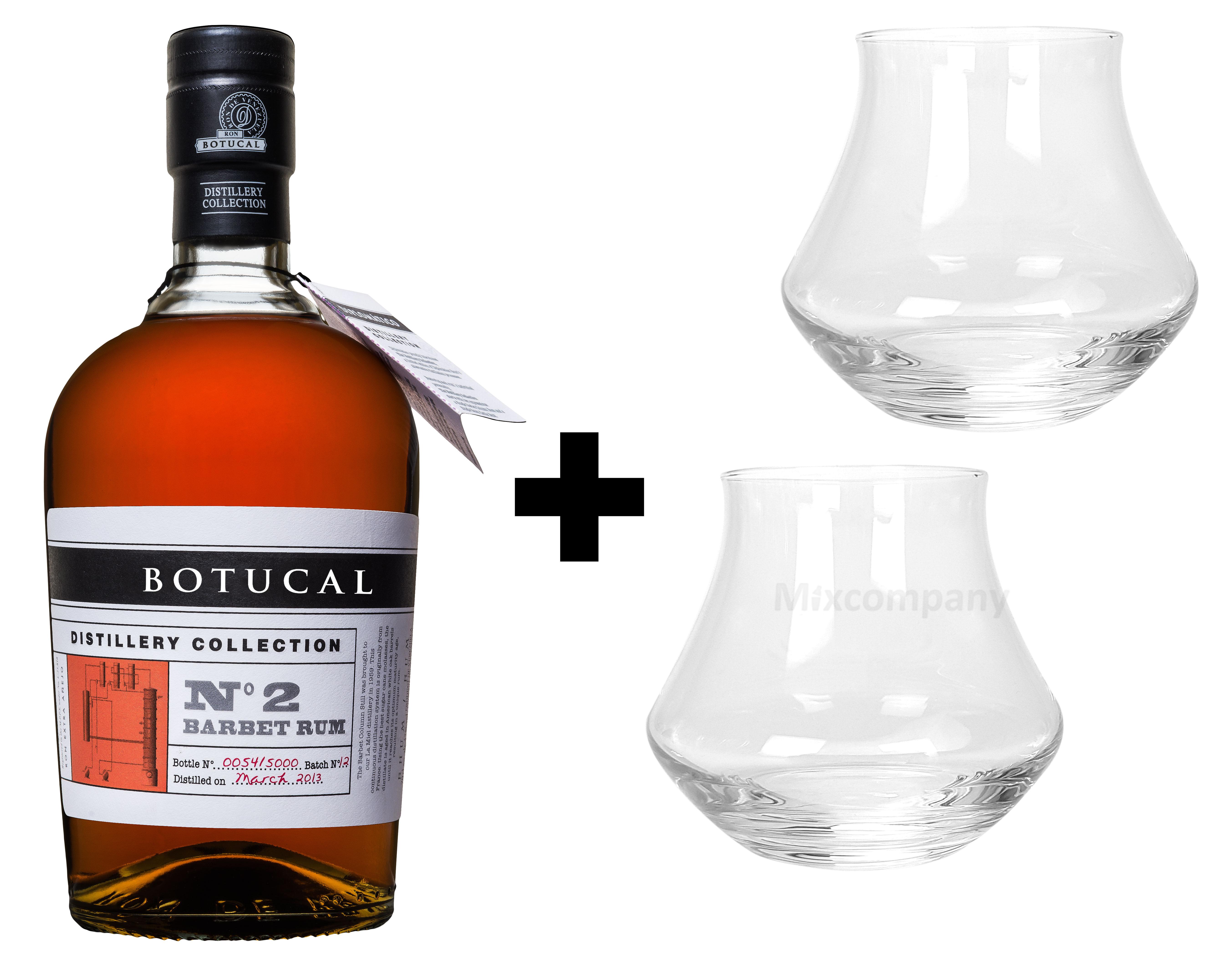 Botucal No2 Barbet Rum Rhum 0,70l (47% Vol) exklusive Sonderausgabe special limited edition distillery collection + 2 Tumbler Gläser Glas Longdrinkgläser Set- [Enthält Sulfite]