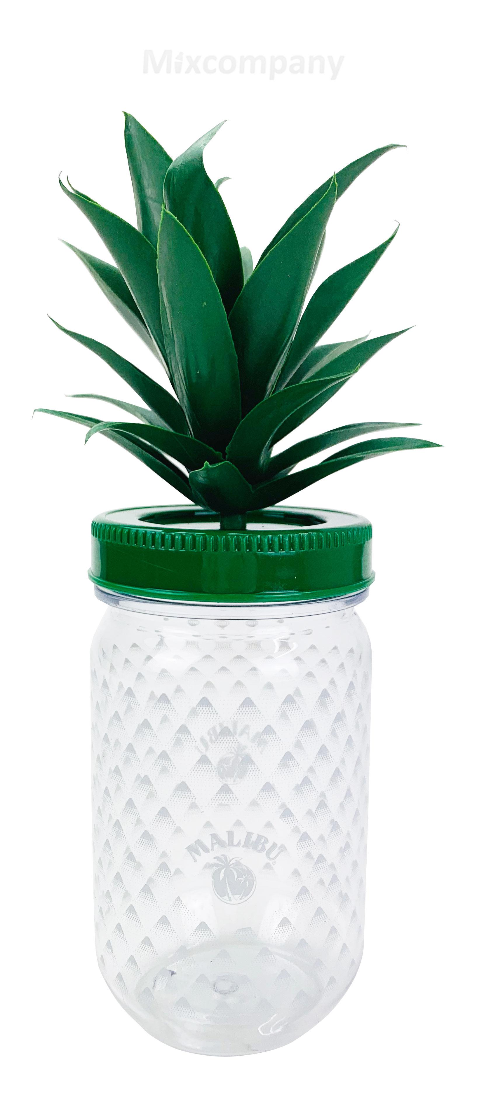 Malibu Cocktail Becher aus Kunststoff ananasform grün ca. 0,3l 300ml Mehrweg Trinkbecher Cocktailbecher Ananas Glas Gläser