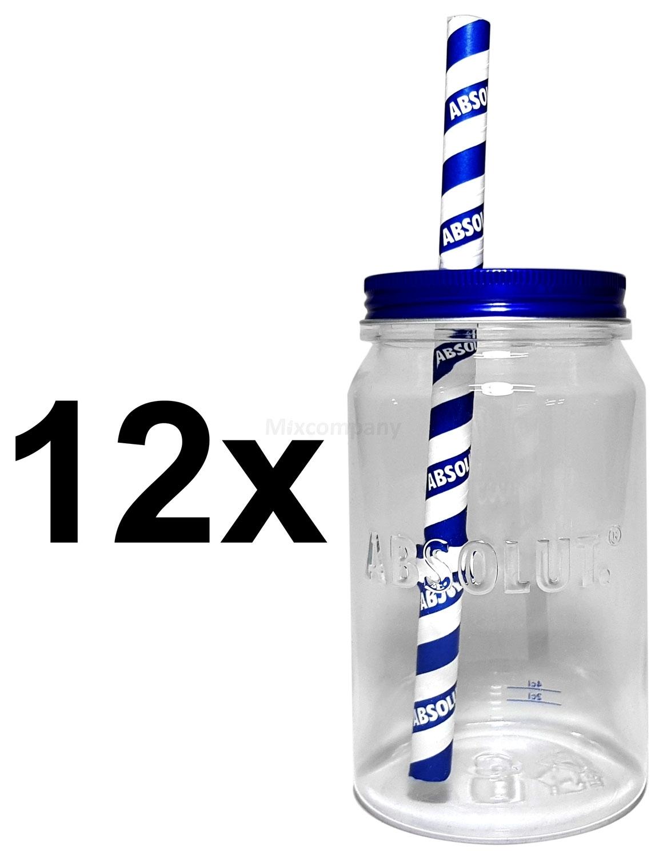 Absolut Vodka Gläserset - 12x Longdrink Lynchburg Glas Gläser aus Kunststoff mit Deckel 2/4cl geeicht + 12x Strohhalme