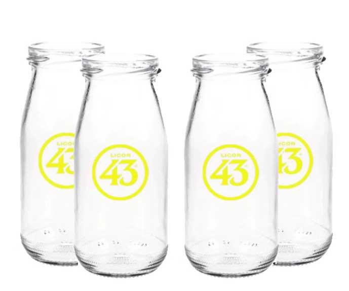 Licor 43 Milchflasche - 4er Set Milchglas Cocktailglas Likör Liquor 43er