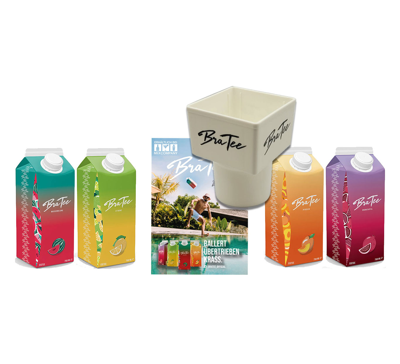 Capital BraTee 4er Tasting Set Eistee je 750ml + Gratis Getränkehalter + Autogrammkarte BRATEE Ice tea Wassermelone Zitrone Pfirsich Granatapfel - mit Capi-Qualitäts-Siegel - Du weisst Bescheid