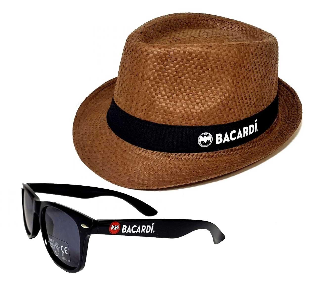 Bacardi Sommer Set - 1x Sonnenbrille mit 400 UV Schutz + Hut Strohhut Strandhut partyhut Sonnenhut in braun Material Hut : 100% Stroh Material Brille : Kunststoff