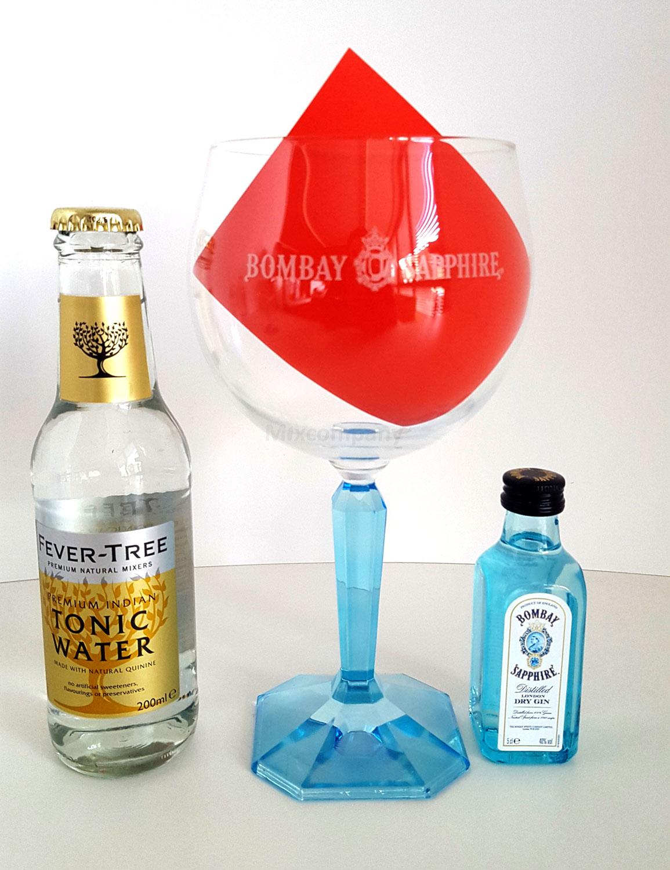 Bombay Sapphire Set - Bombay Sapphire Gin 50ml (40% Vol) + Ballongläser + Fever-Tree Tonic Water 200ml - Inkl. Pfand MEHRWEG