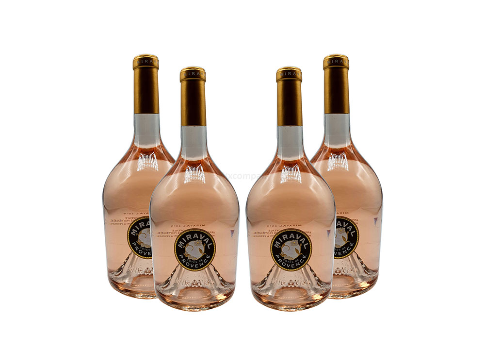Angelina Jolie + Bratt Pitt Miraval Cotes de Provence Rose Wein 4x 0,75L (13% Vol) Jolie-Pitt Miraval Wein - 4er Set - [Enthält Sulfite]