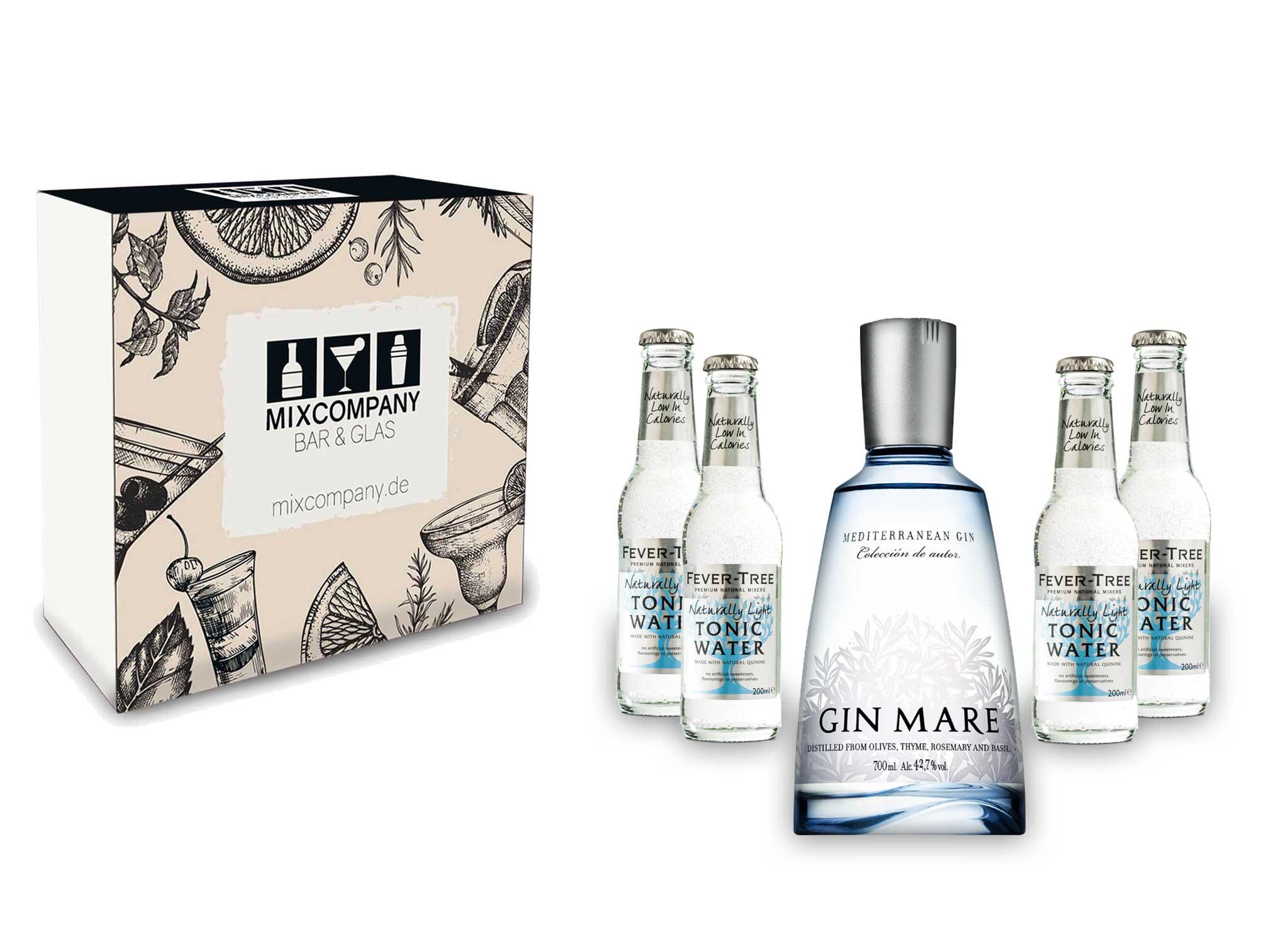 Gin Tonic Giftbox Geschenkset - Gin Mare 0,7l 700ml (42,7% Vol) + 4x Fever Tree Naturally Light Tonic Water 200ml inkl. Pfand MEHRWEG + Geschenkverpackung