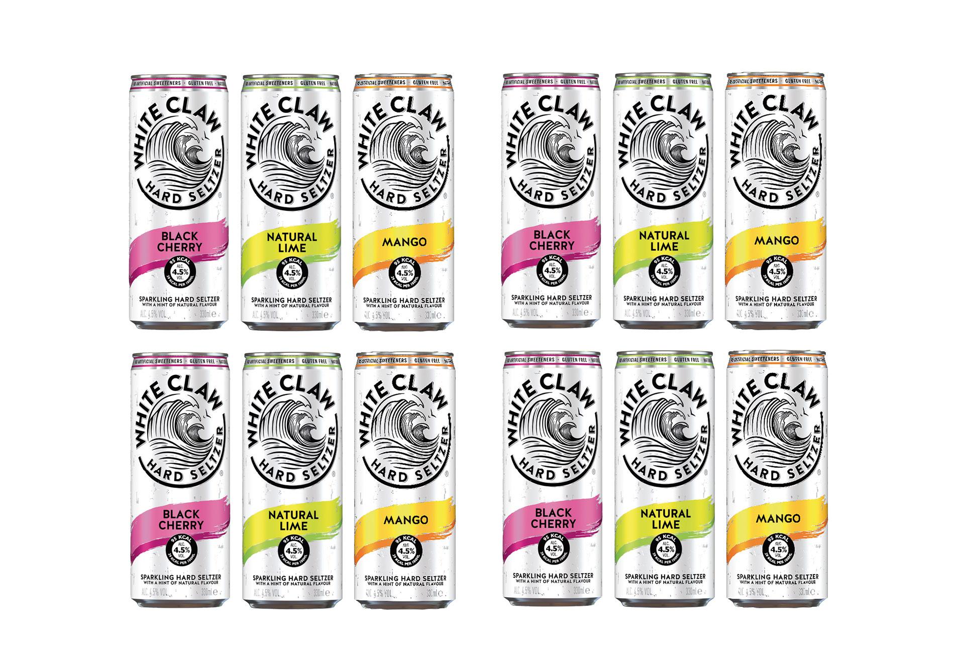 White Claw 12er tasting Set natural Lime + Black Cherry + Mango je 330ml (4,5% Vol) inkl. Pfand EINWEG ready to drink / Longdrink sparkling hard seltzer - [Enthält Sulfite]