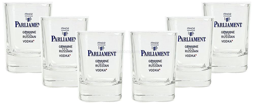Parliament Russian Vodka Shotglas - Schnapsglas / Glas / Gläser Set - 6x Shotgläser 2/4cl geeicht - 2cl + 4 cl Eichung