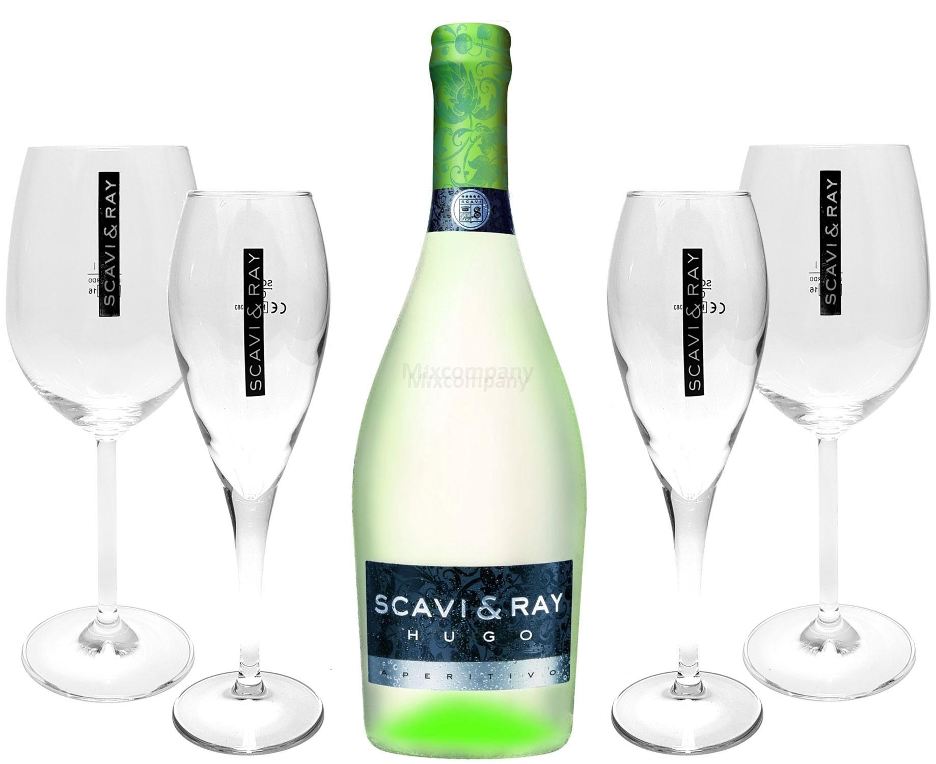 Scavi & Ray Hugo Aperitivo 0,75l (6% Vol) + 2x Flöten (10cl) + 2x Ballon Gläser (20cl) -[Enthält Sulfite]