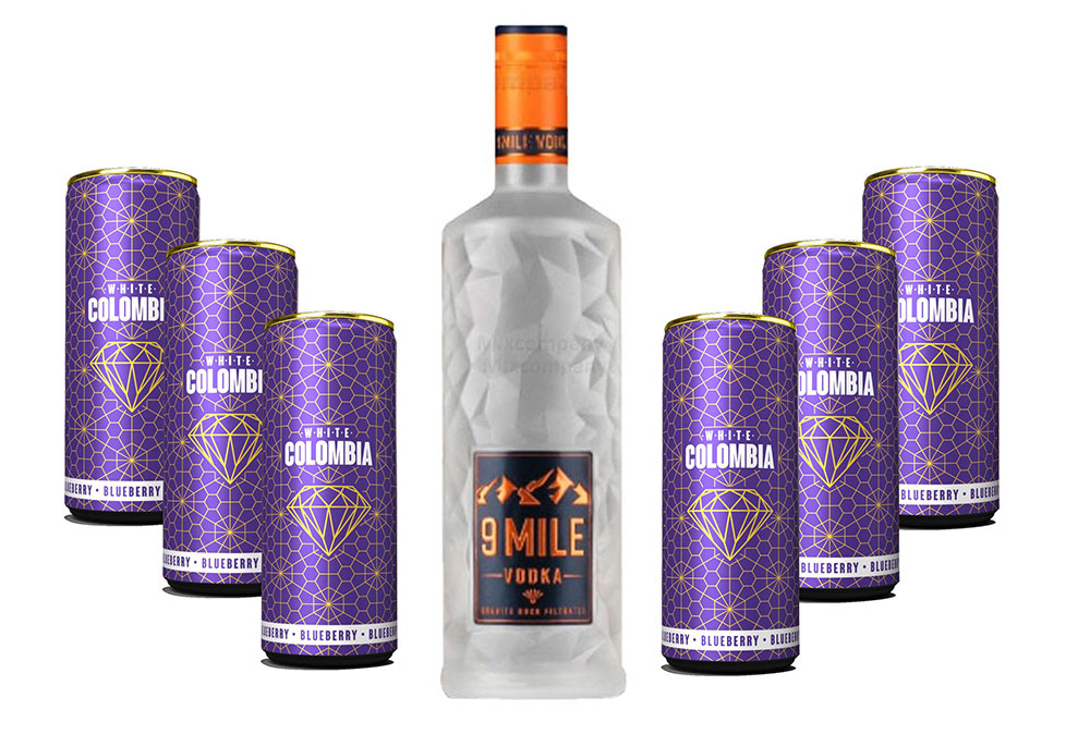 9 Mile Vodka Wodka Set - 9 Mile Vodka Wodka 0,7l (37,5% Vol) + White Colombia Blueberry Set - Erfrischungsgetränk mit Blueberry Geschmack - 6x 250ml inkl. Pfand EINWEG- [Enthält Sulfite]