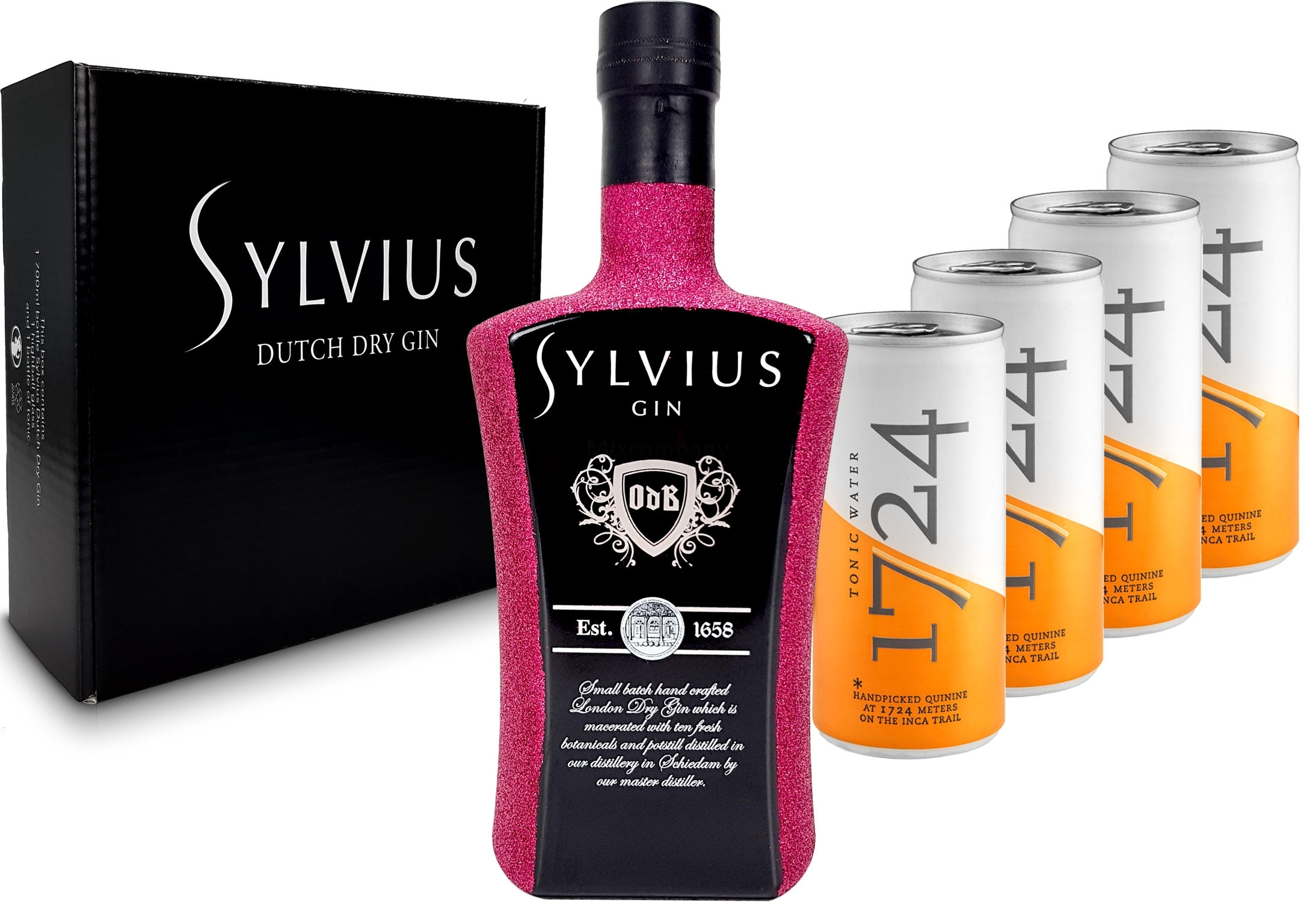 Gin Tonic Bling Bling Hot Pink Glitzer Set Geschenkset - Sylvius Dutch Gin 0,7l 700ml (45% Vol) + 4x 1724 Tonic Water Dosen 200ml inkl. Pfand EINWEG -[Enthält Sulfite]