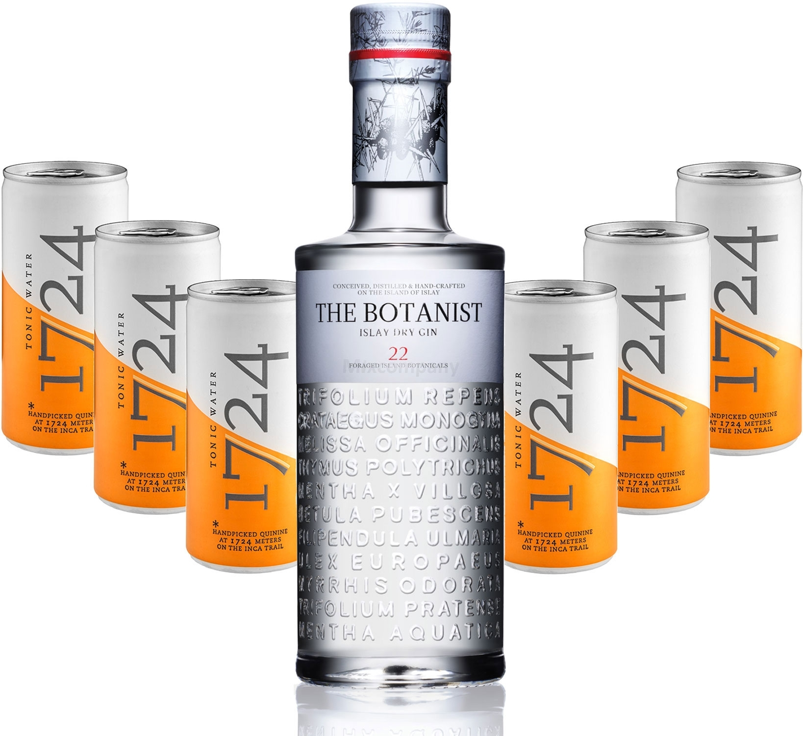 Gin Tonic Set - The Botanist Islay Dry Gin 0,7l 700ml (46% Vol) + 6x 1724 Tonic Water 200ml Dosen inkl. Pfand EINWEG -[Enthält Sulfite]