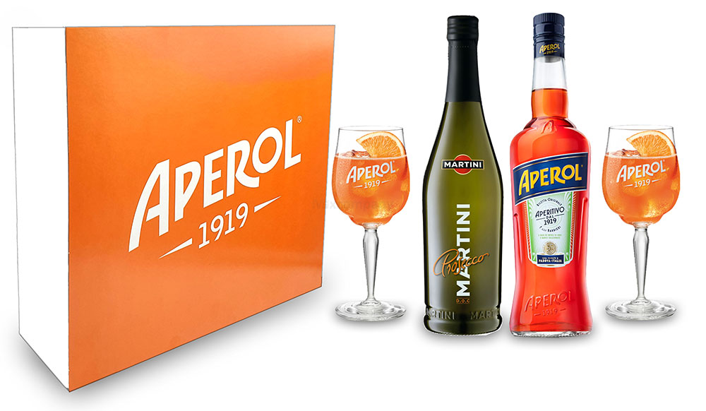 Aperol Spritz Schuber Geschenkset - Aperol Aperitivo Italiano 1L (11% Vol) + Prosecco 0,7L (10,5% Vol) + 2x Aperol 1919 KUNSTSTOFF / Acrylgläser Gläser / Glas aus Kunststoff + Giftbox - [Enthält Sulfite]
