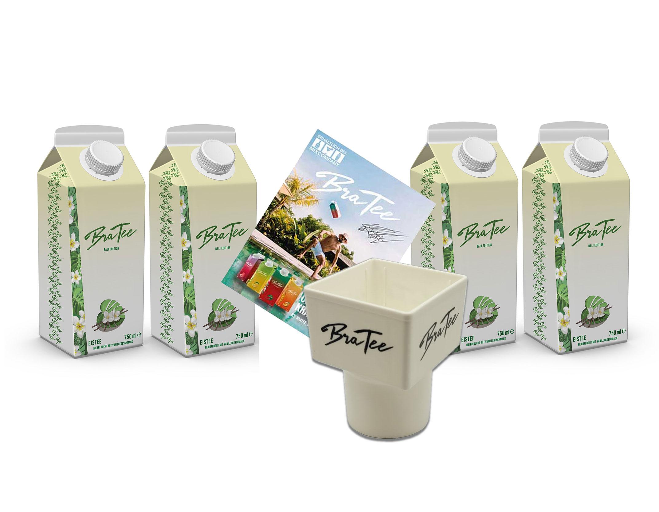 Capital BraTee Bali Edition 4er Set Special Eistee je 750ml + Gratis Getränkehalter + Autogrammkarte BRATEE Limited Edition Ice tea Mehrfrucht mit Vanillegeschmack mit Capi-Qualitäts-Siegel - Du weisst Bescheid