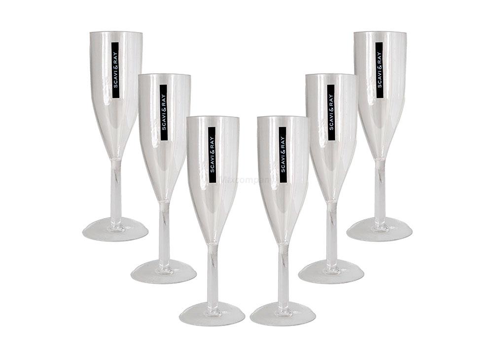 Scavi & Ray Sekt Acryl Glas / Prosecco Gläser Set - 6x Flöten Gläser aus Kunststoff