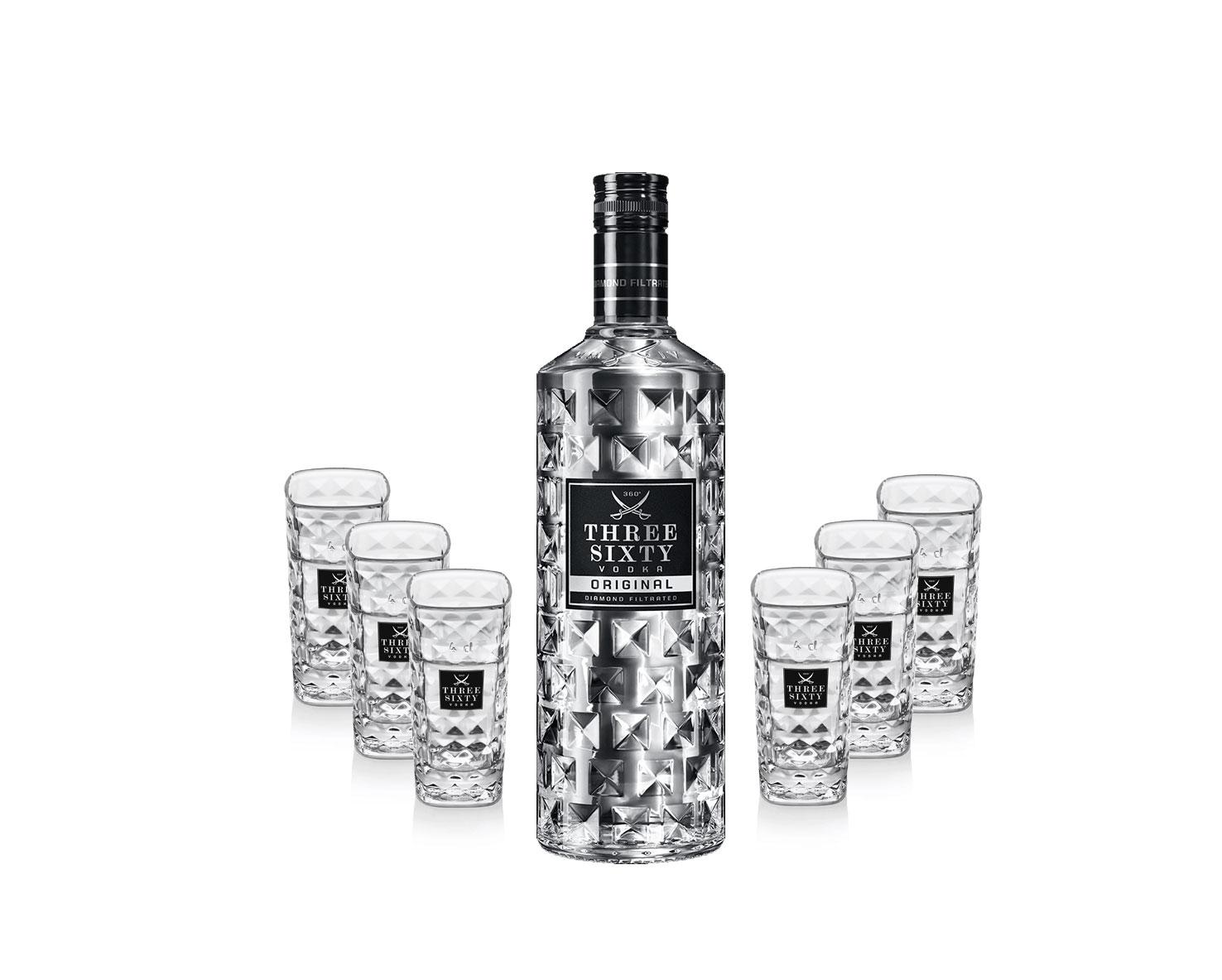 Three Sixty Set Geschenkset - Three Sixty Vodka Wodka 700ml (37,5% Vol) + 6x Shotgläser Glas 2 und 4cl geeicht- [Enthält Sulfite]