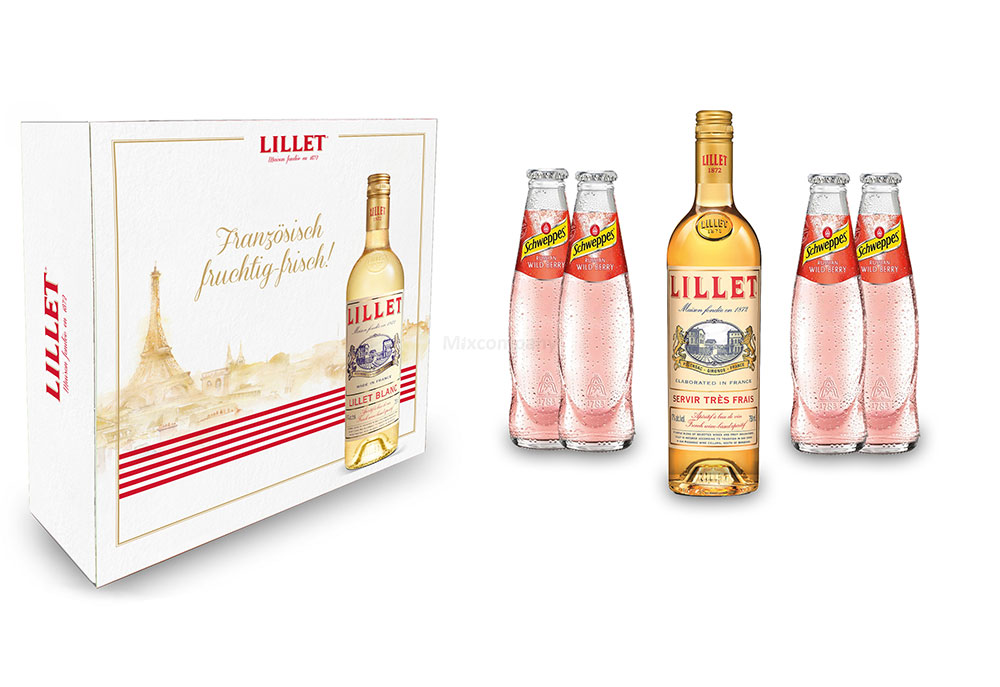Lillet Schuber Geschenkset - Lillet Blanc Aperitiv de France 750ml (17% Vol) + 4x Schweppes Wildberry 0,2L - Inkl. Pfand MEHRWEG